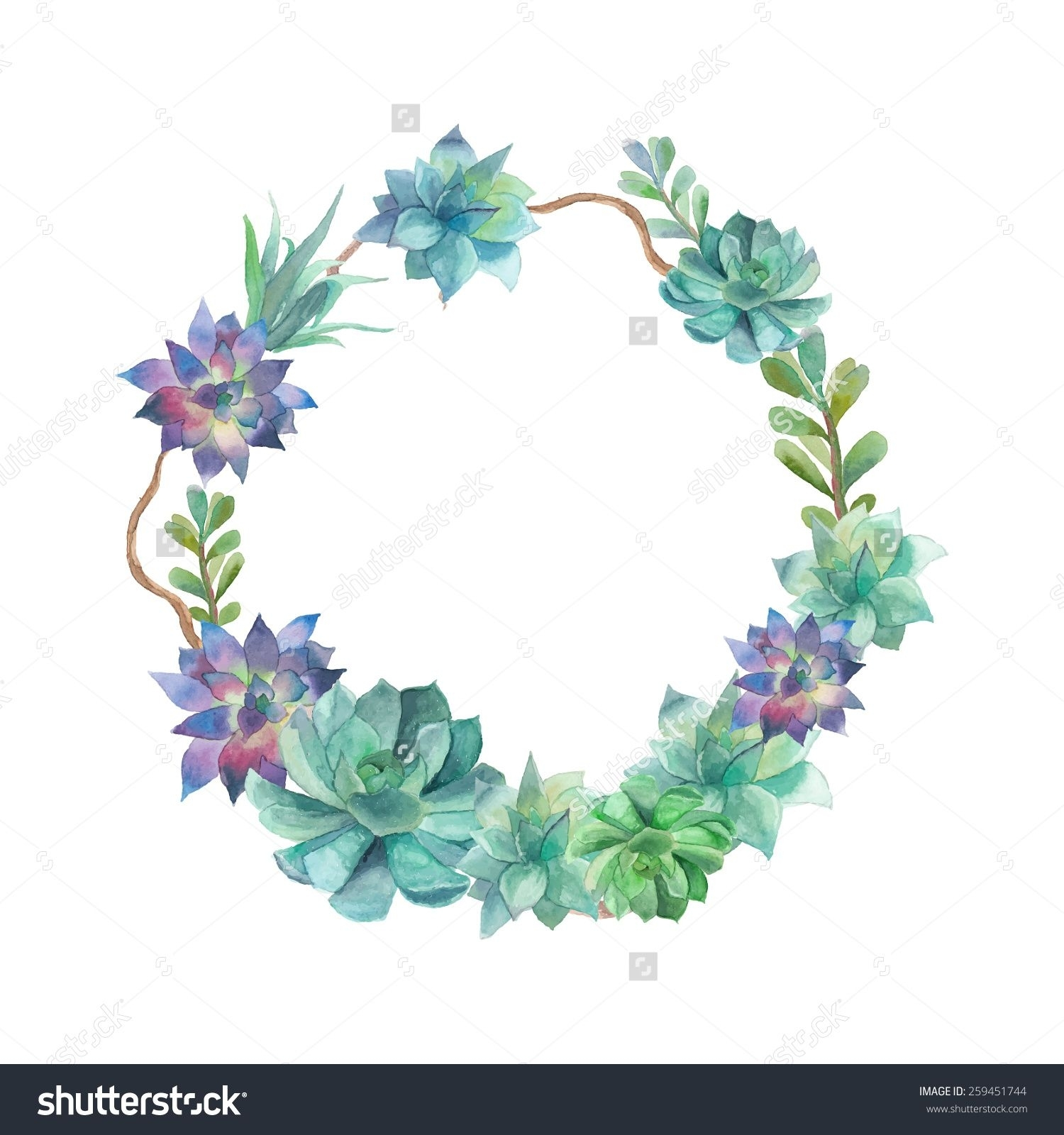 Watercolor Succulents Wreath (View 15 of 15)