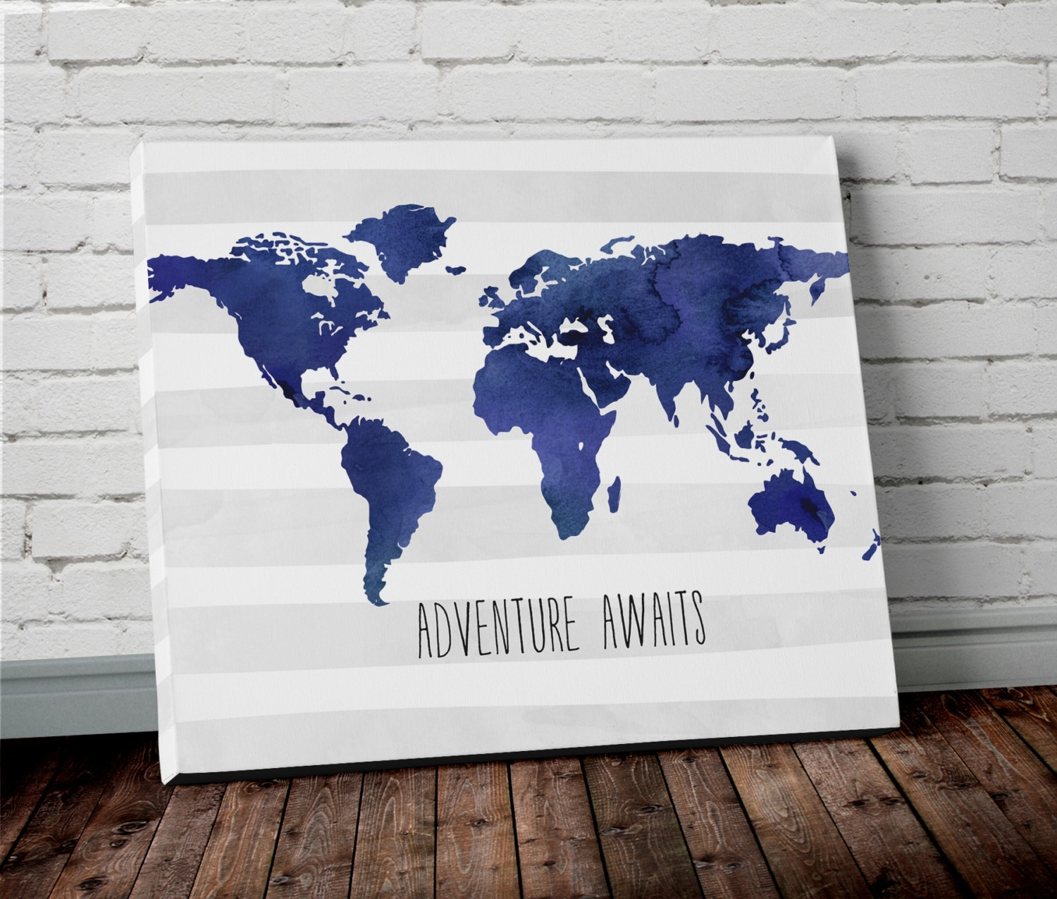 Watercolor World Map Wall Art In Blue  Project Cottage In Newest Navy Canvas Wall Art (View 15 of 15)