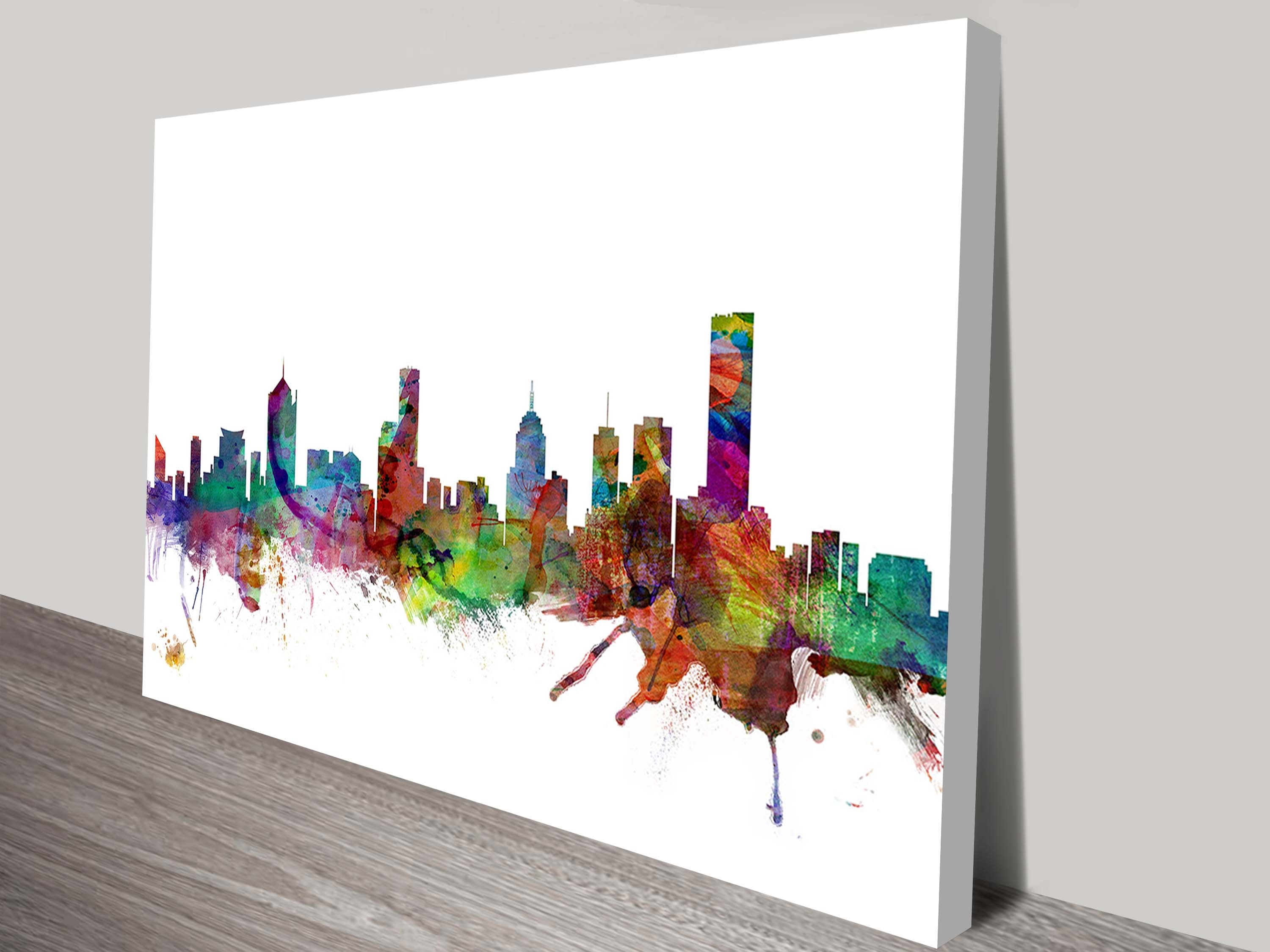 Watercolour Melbourne Skyline Artworkmichael Tompsett Within Recent Melbourne Canvas Wall Art (View 15 of 15)