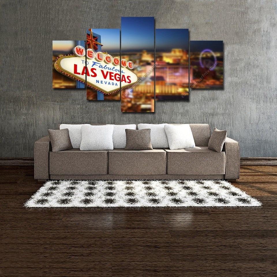 Welcome To Las Vegas Sign Wall Art Print Canvas 5 Piece Casino Within Latest Las Vegas Canvas Wall Art (Gallery 10 of 15)
