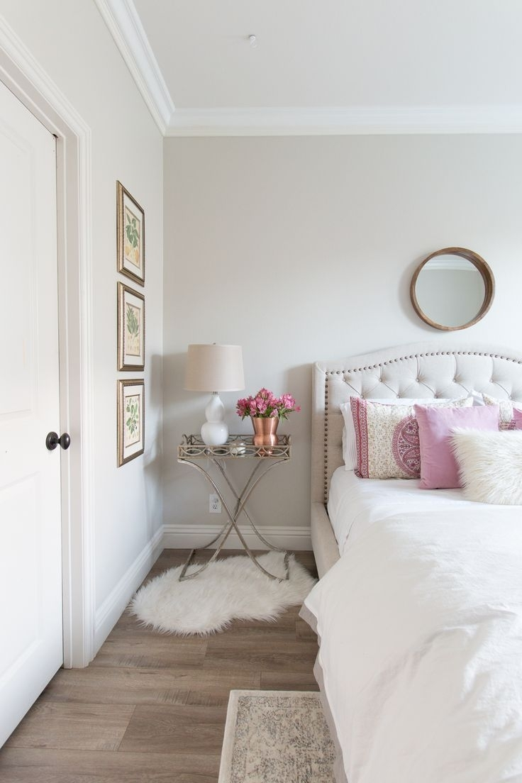 White And Pink Bedroom Inspiration | White Walls | White Bedding Intended For Recent Grey And White Wall Accents (View 15 of 15)