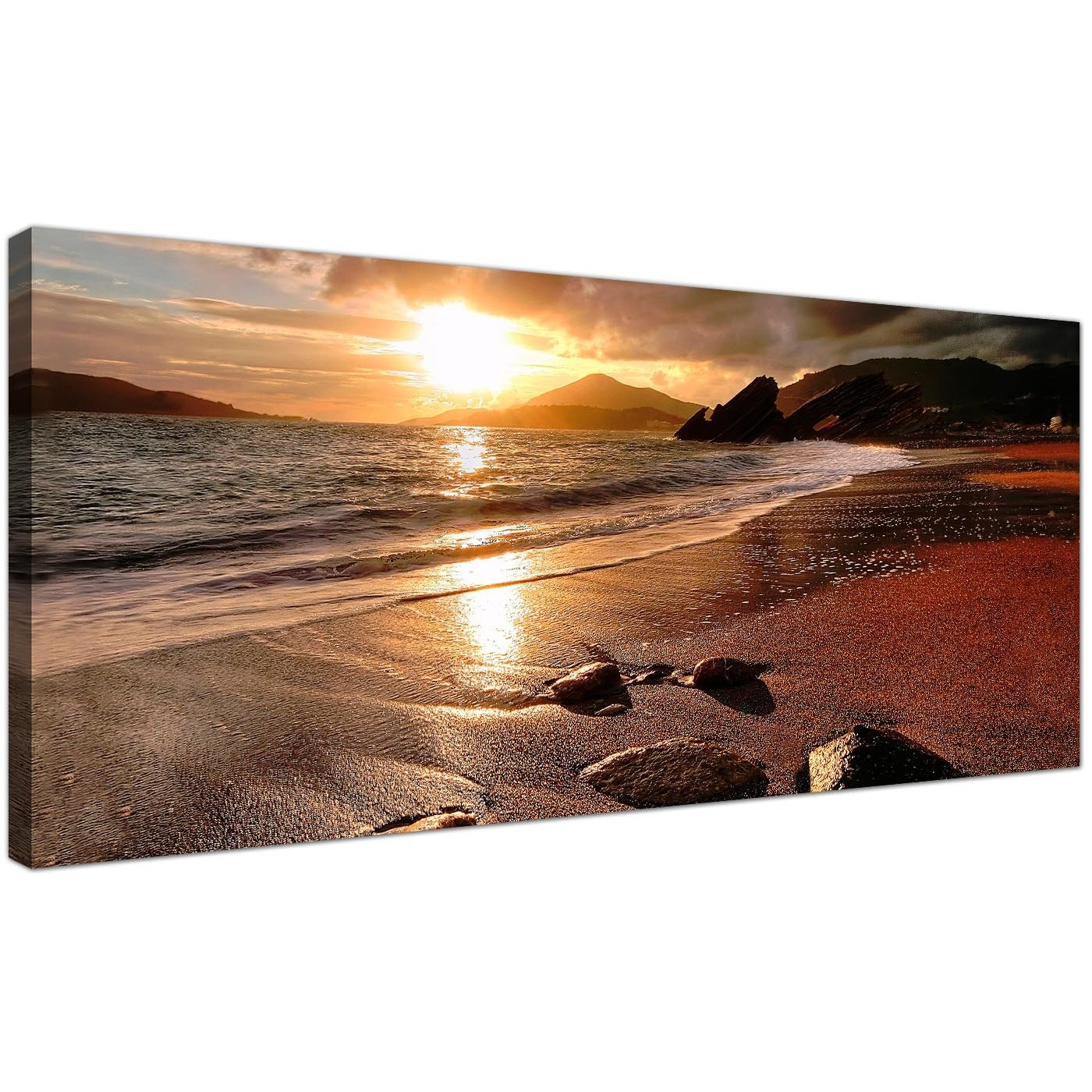 Wide Canvas Prints Of A Beach Sunset For Your Living Room Inside Most Up To Date Panoramic Canvas Wall Art (Gallery 2 of 15)