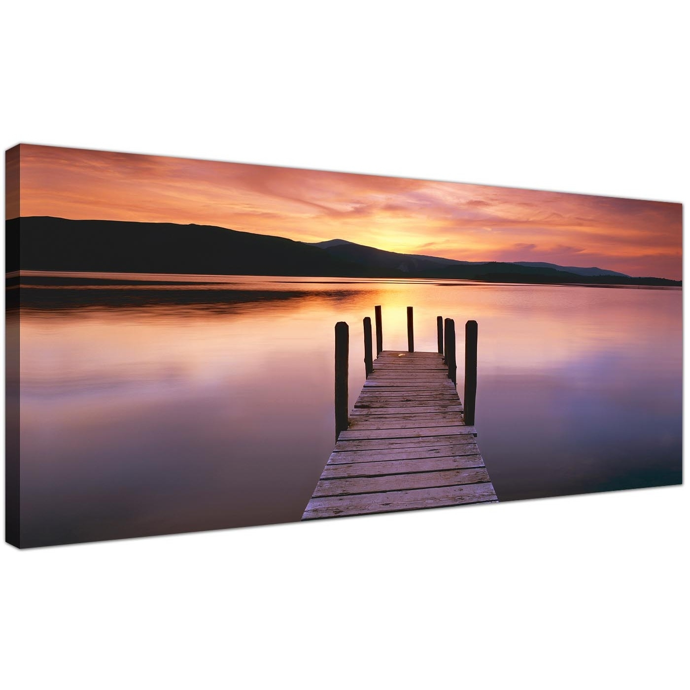 Wide Canvas Wall Art Of A Lake Sunset For Your Living Room Regarding Best And Newest Panoramic Canvas Wall Art (View 8 of 15)