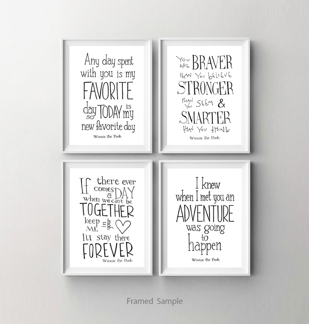 Winnie The Pooh Disney Movie Quote Poster Set Of 4, Nursery Art In Most Up To Date Disney Framed Art Prints (View 15 of 15)