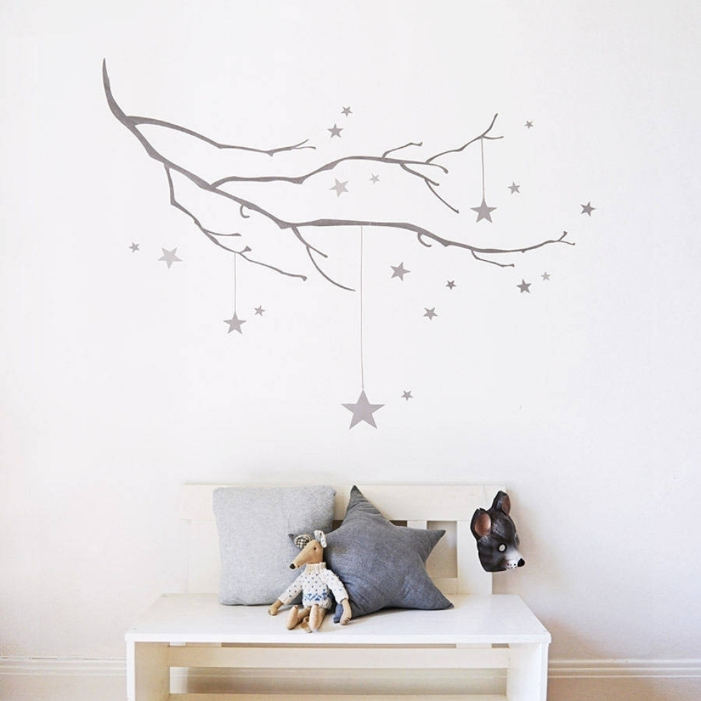 Winter Branch With Stars Fabric Wall Sticker Koko Kids With Stars Within Latest Fabric Wall Art Stickers (View 14 of 15)