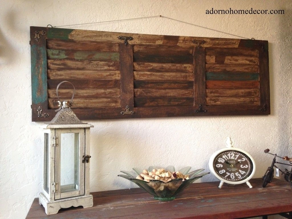 Wood Panel Wall Decor Latest Gallery Rustic Distressed Shutter Inside Most Up To Date Antique Wall Accents (View 15 of 15)