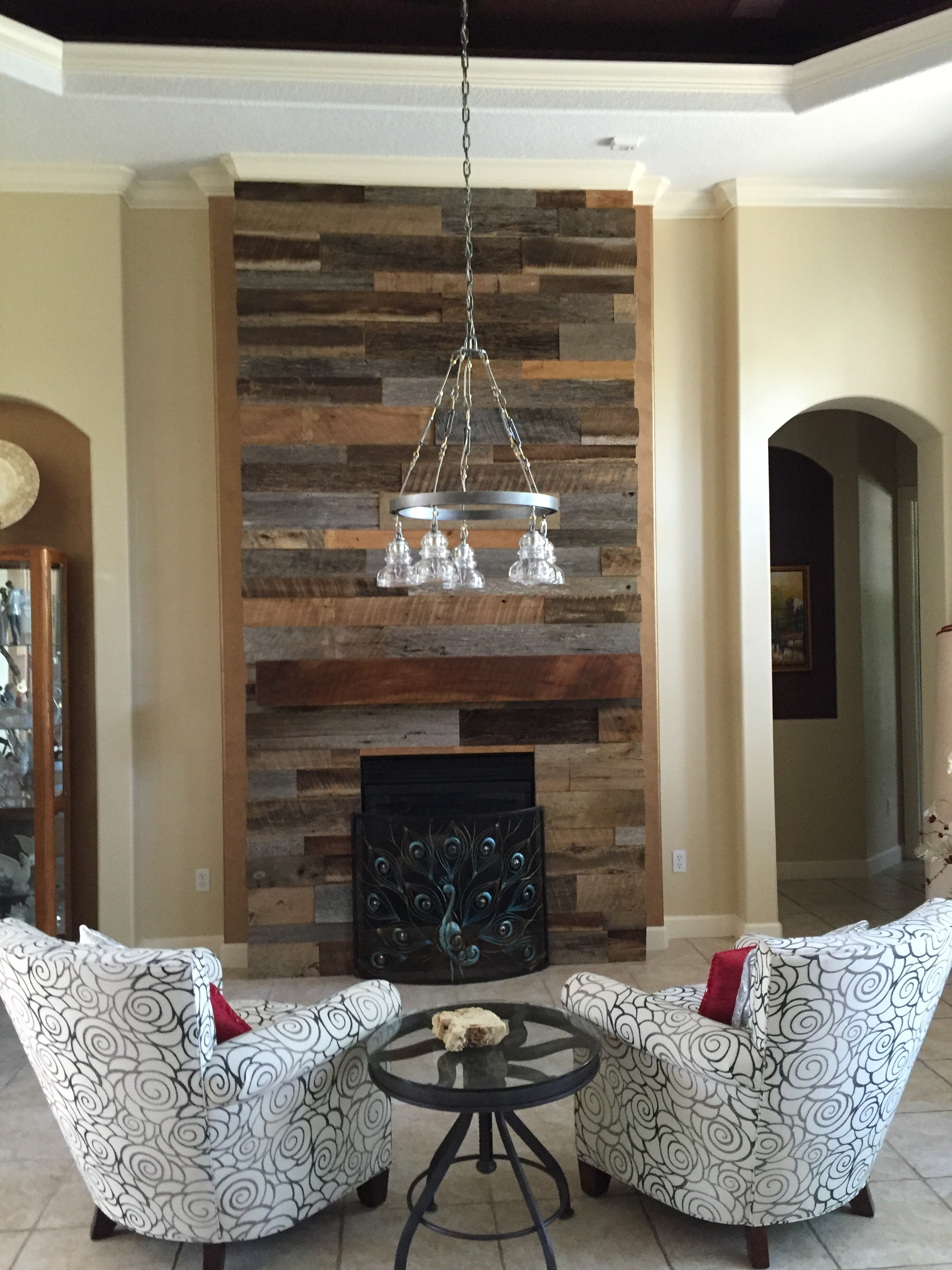 Wood Wall Accent Wood Accent Wall Fireplace Decor Throughout 2017 Reclaimed Wood Wall Accents (View 5 of 15)