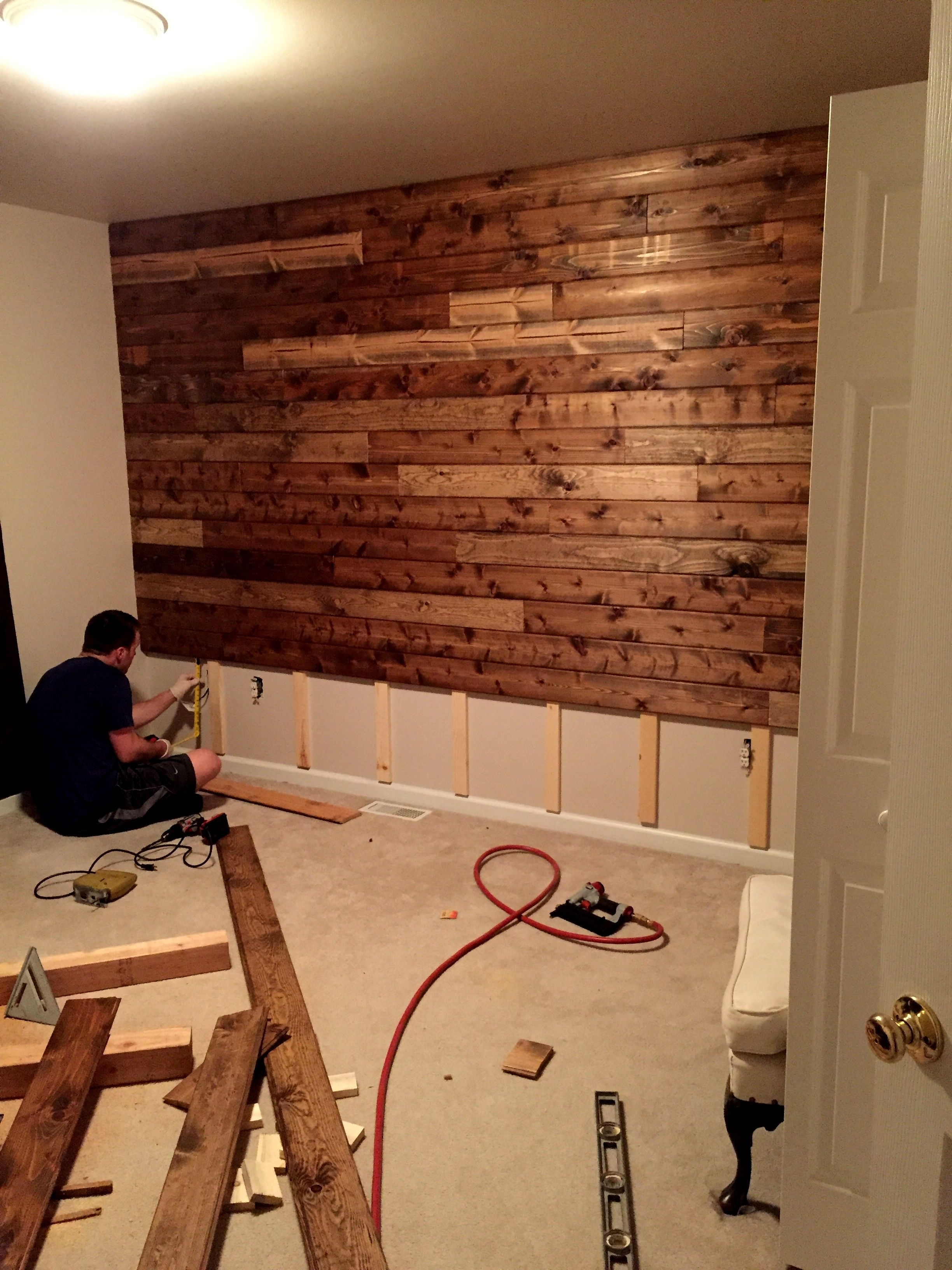 Wooden Accent Wall Tutorial | Country Decor | Pinterest With Regard To 2017 Wall Accents For Media Room (View 15 of 15)