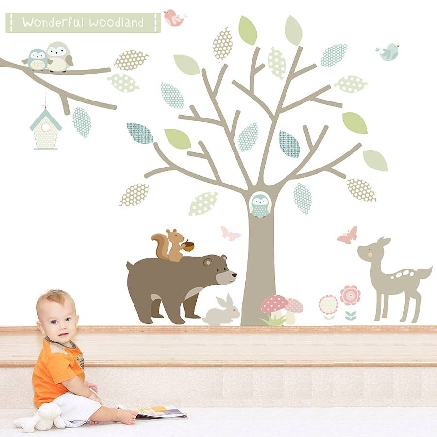 Woodland Animal Wall Stickers Intended For Most Recent Fabric Animal Silhouette Wall Art (View 15 of 15)