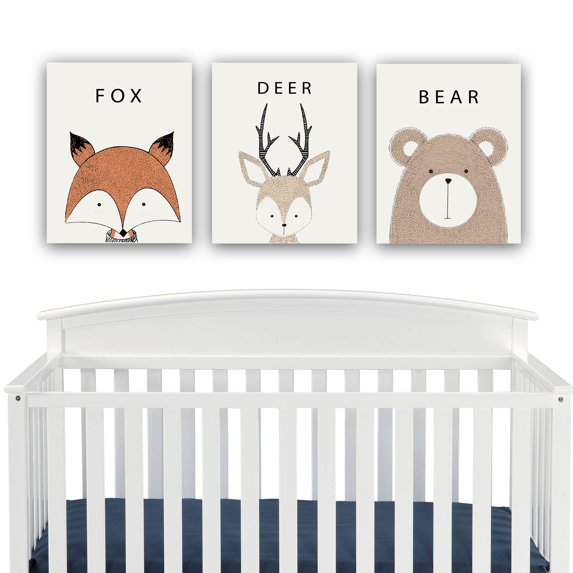 Woodland Creatures Nursery Decor Canvas Wall Art – Fox, Deer, Bear For Most Popular Nursery Canvas Wall Art (View 15 of 15)