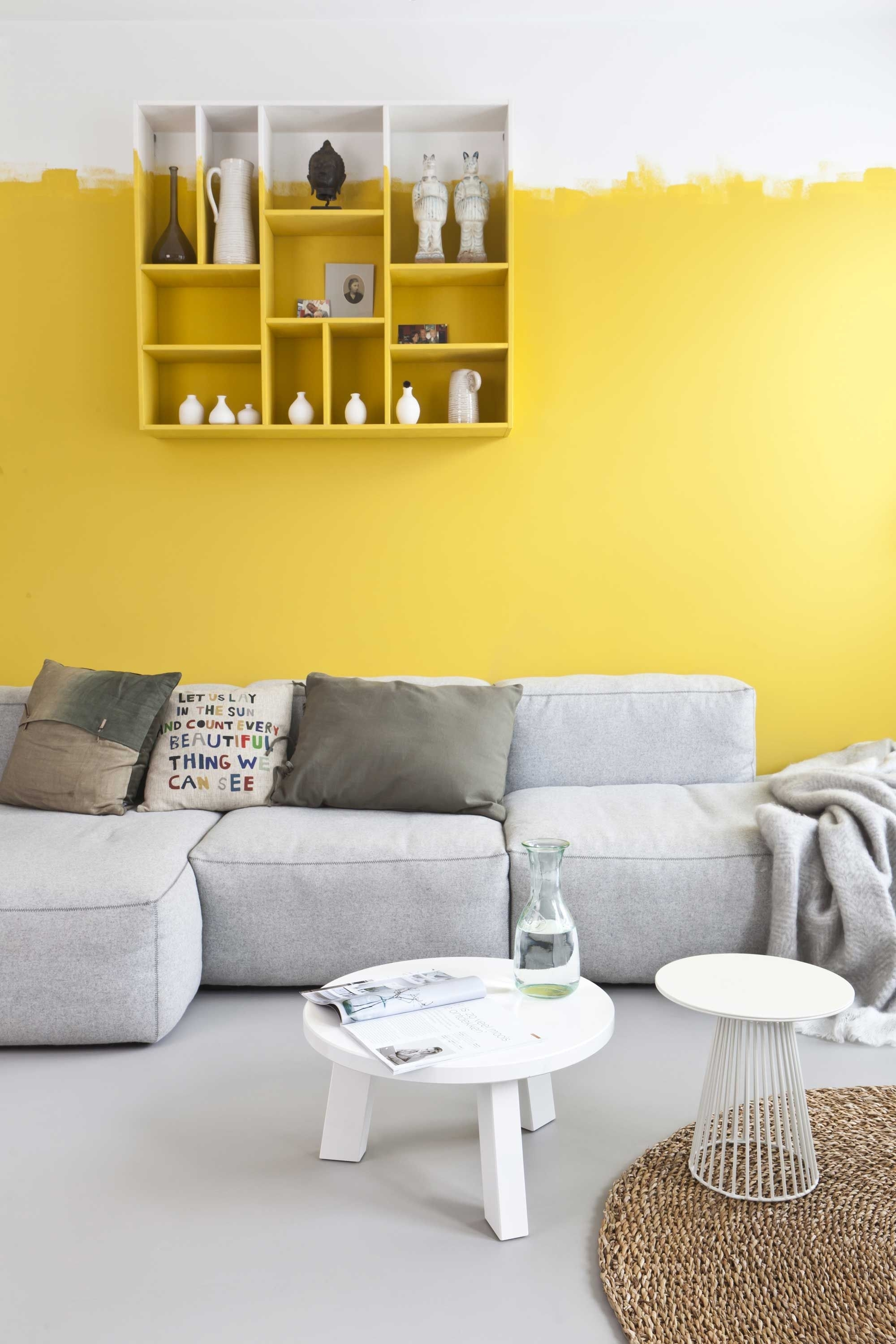 Woonkamer Haarlem Na Metamorfose Vt Wonen, Muur In Kleur Ram. Zo Within Most Recently Released Yellow Wall Accents (Gallery 4 of 15)
