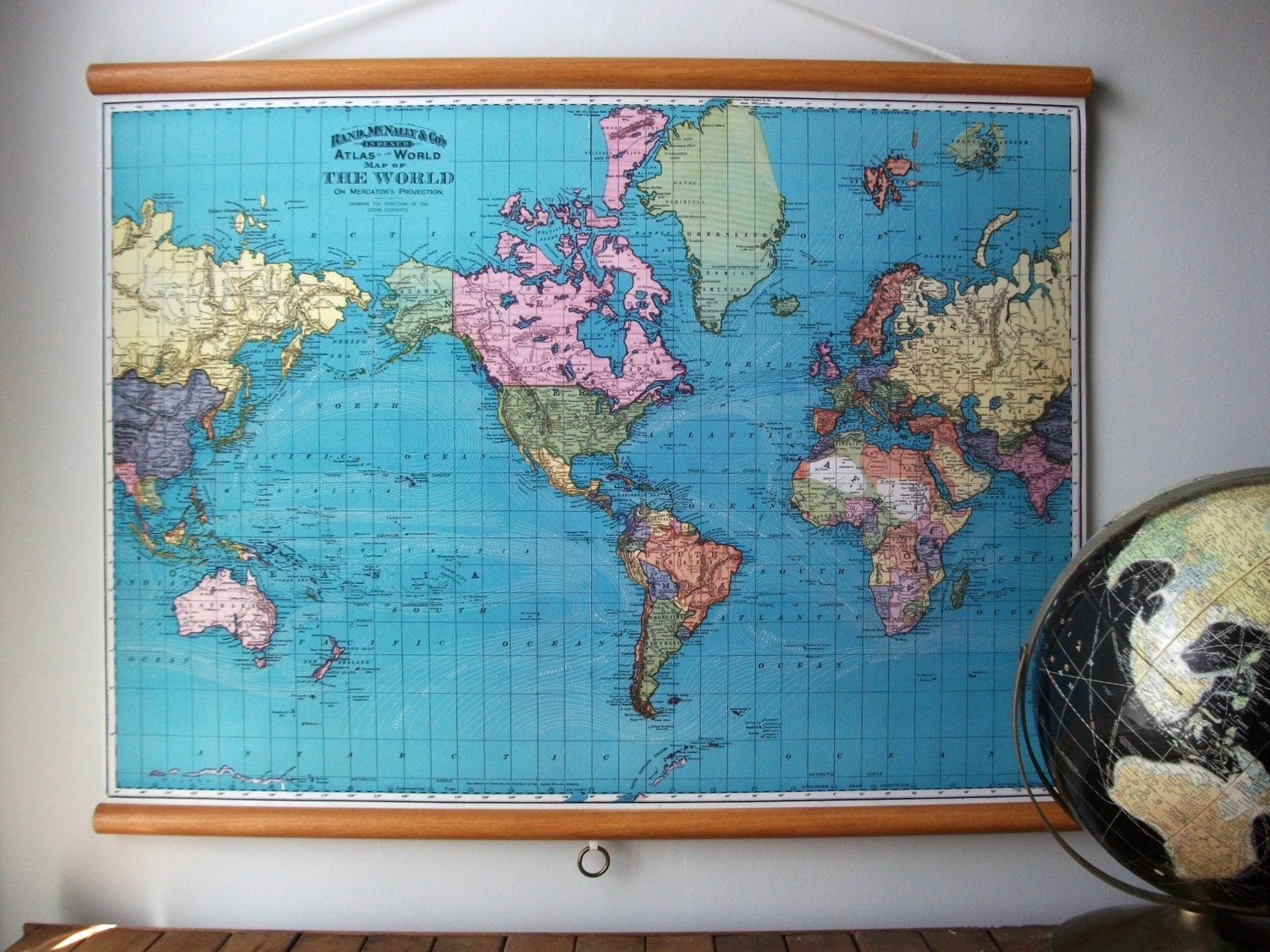 World Map 1897 / Vintage Pull Down Reproduction / Canvas Fabric Or With Most Recent Large Print Fabric Wall Art (Gallery 10 of 15)