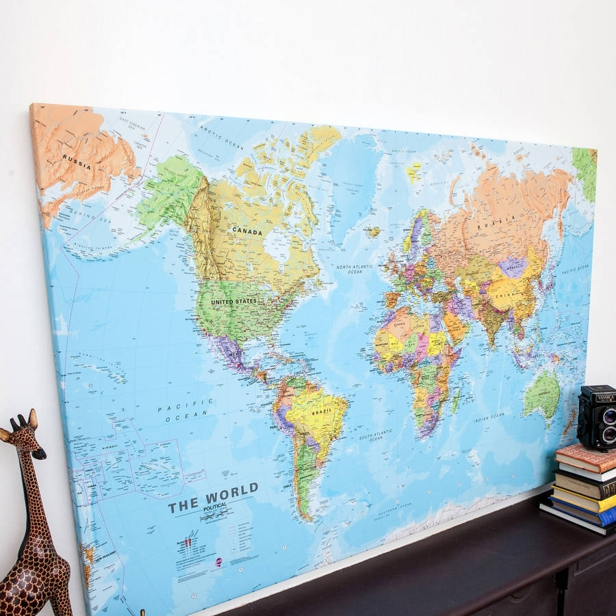 World Map Canvas Art – Blue World Map Canvas Wall Art Panel With Best And Newest Maps Canvas Wall Art (View 6 of 15)
