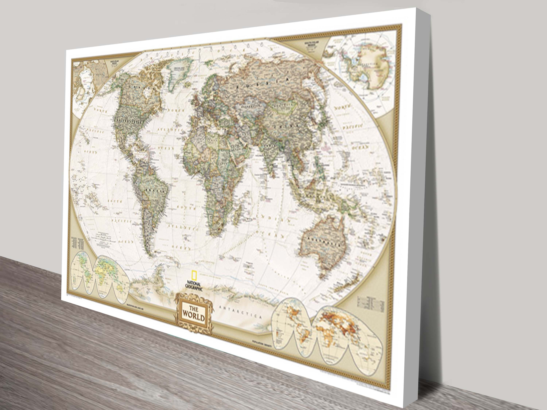 World Map Canvas Wall Art | Framed Maps Sydney Inside Best And Newest Maps Canvas Wall Art (View 15 of 15)
