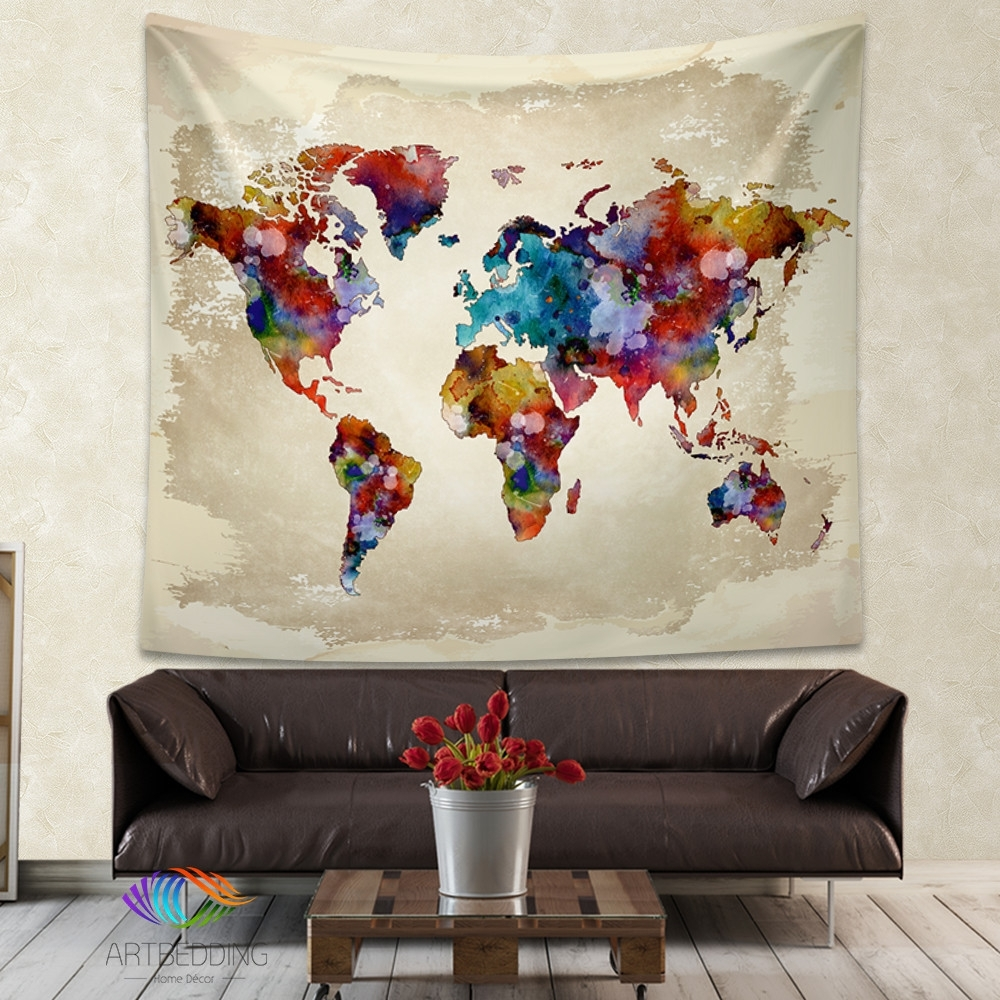 World Map Watercolor Wall Tapestry, Grunge World Map Wall Tapestry Throughout Current Cloth Fabric Wall Art (View 3 of 15)