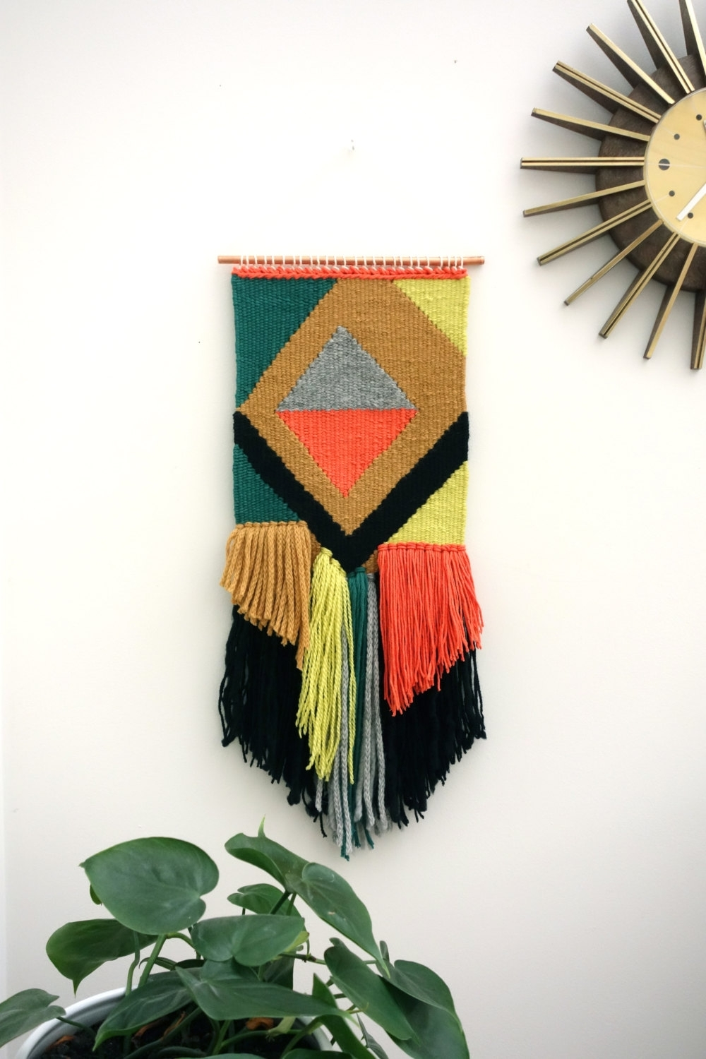 "Woven Wall Hangings / Hand Woven Tapestry / Weaving ""diwali Night Regarding Most Popular Mid Century Textile Wall Art (Gallery 3 of 15)"