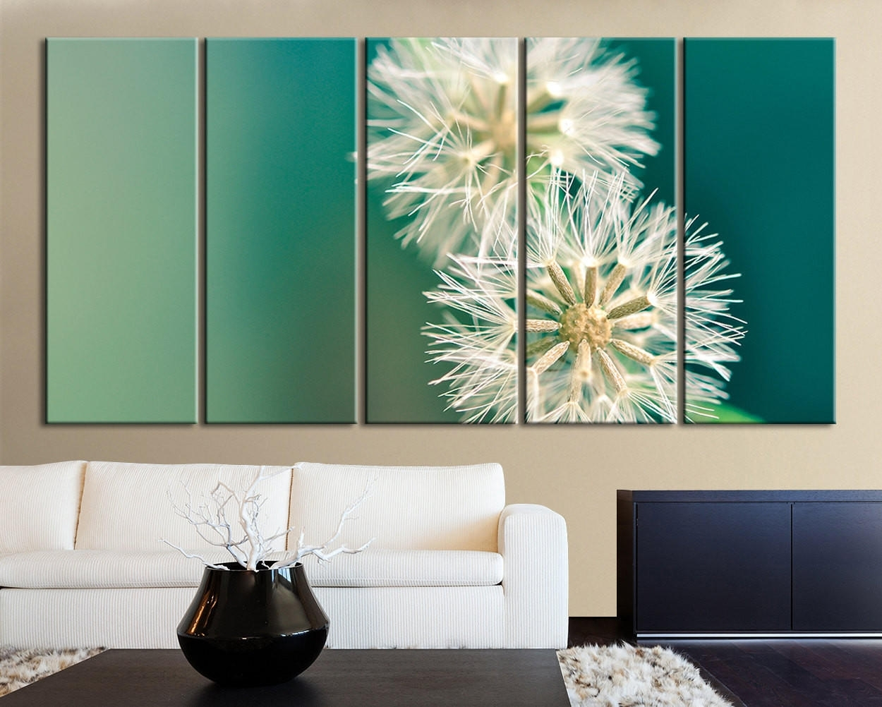 Xxl 5 Panel Wall Art Canvas Print From Mycanvasprint Within Most Recent Dandelion Canvas Wall Art (View 3 of 15)