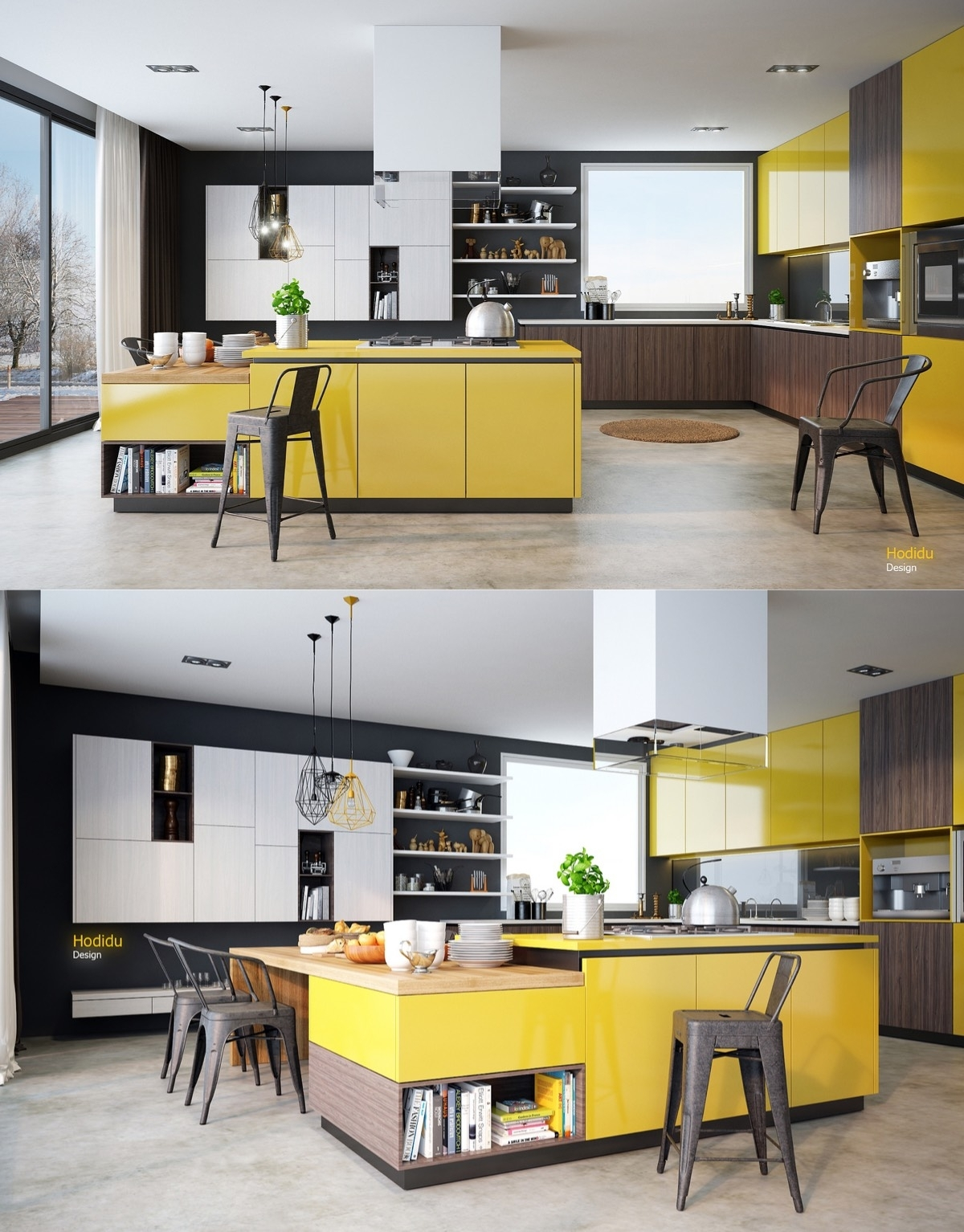 Yellow And Wood Kitchen Ideas Walls With Dark Cabinets Grey Inside Current Wall Accents Cabinets (View 4 of 15)