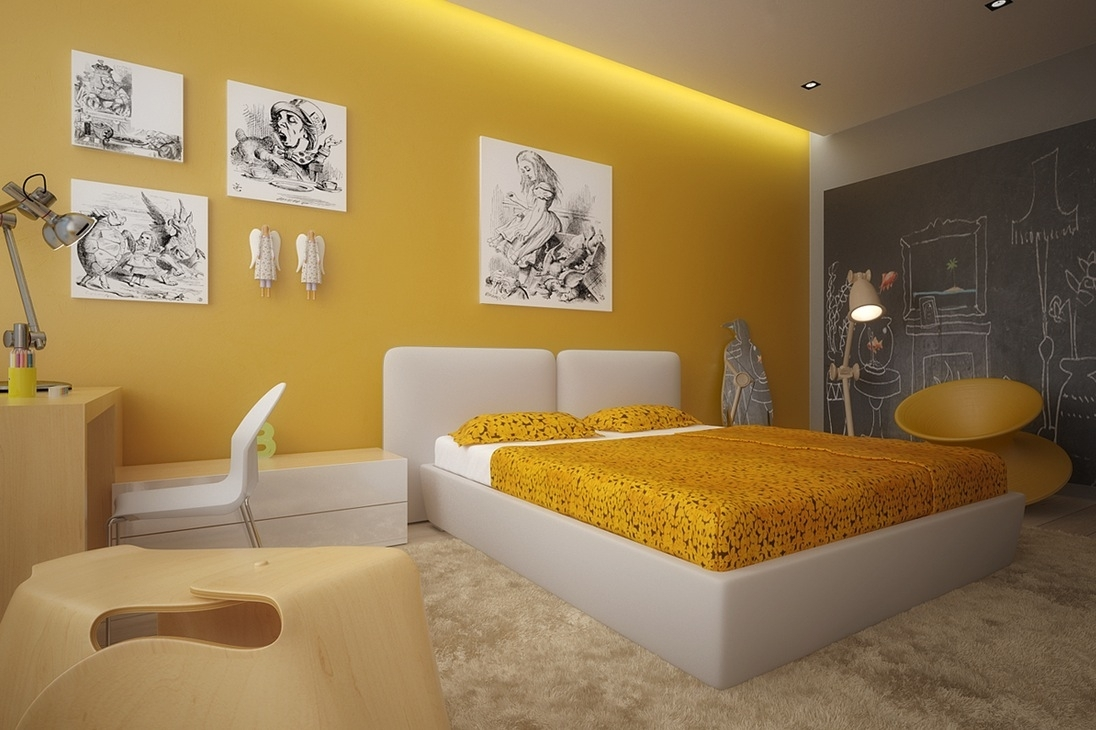 Yellow Bedroom Design Ideas – Newhomesandrews Throughout Recent Wall Accents For Yellow Room (Gallery 5 of 15)