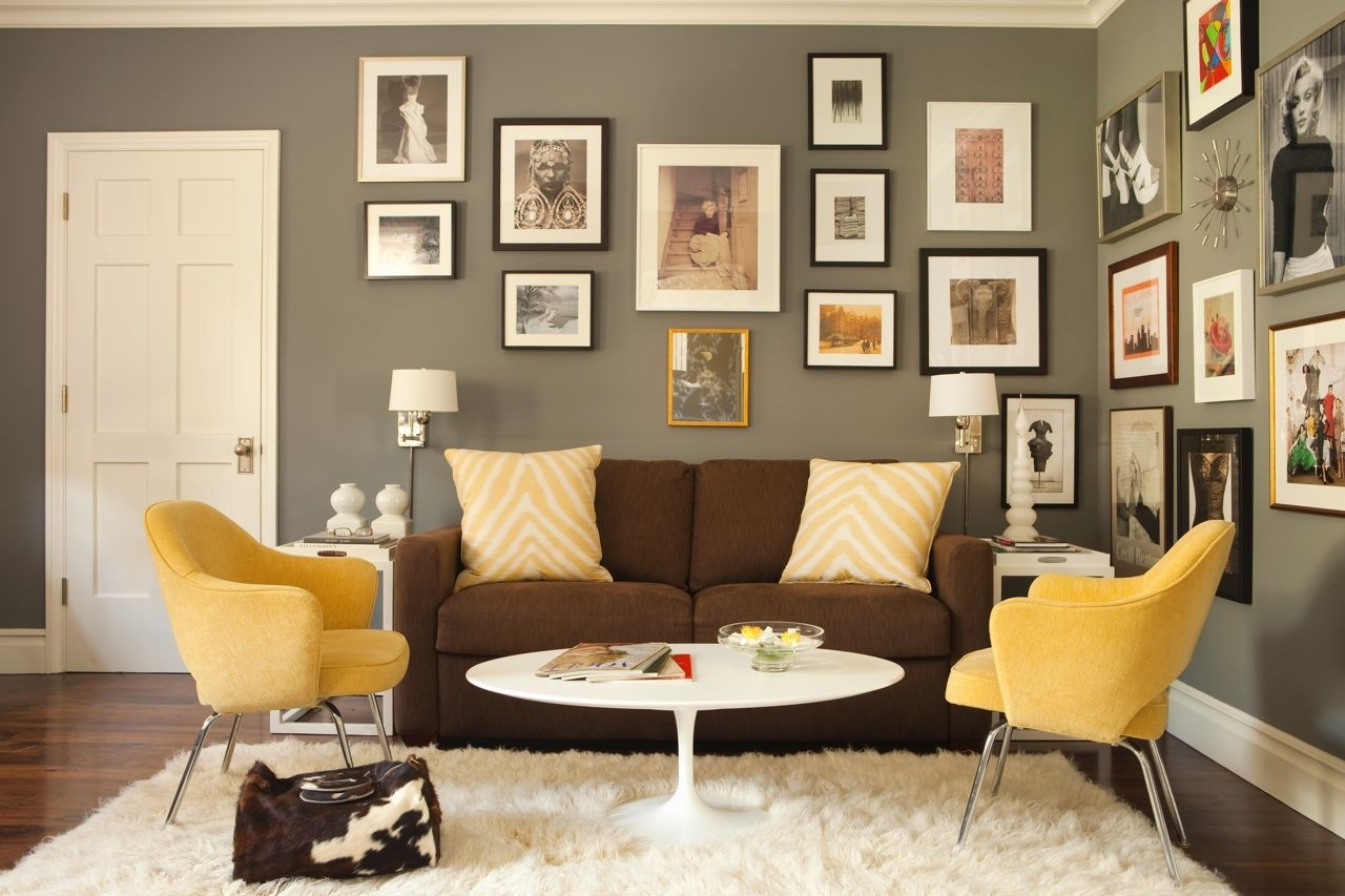 Yellow Chairs, Brown Sofa And Grey Wallskaryn R. Millet In Most Popular Brown Couch Wall Accents (Gallery 7 of 15)