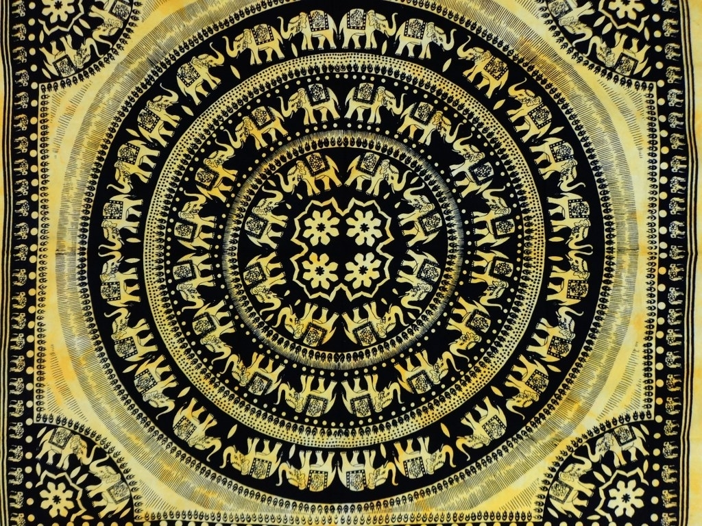 Yellow Color Theme Bohemian Mandala Tapestry, For Current Elephant Fabric Wall Art (Gallery 14 of 15)