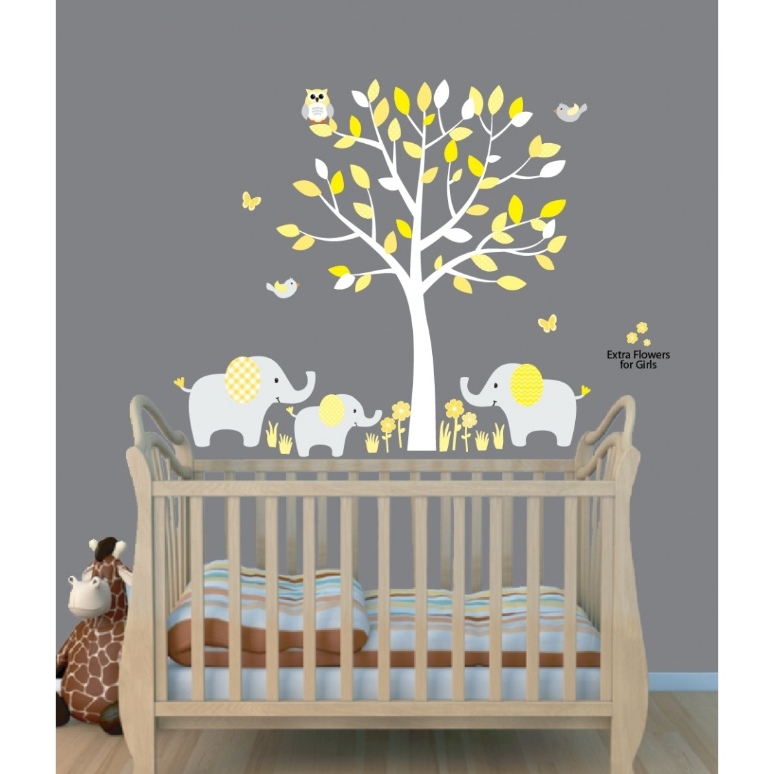 Yellow Safari Murals With Elephant Wall Decal For Baby Room With Latest Fabric Wall Art Stickers (View 15 of 15)