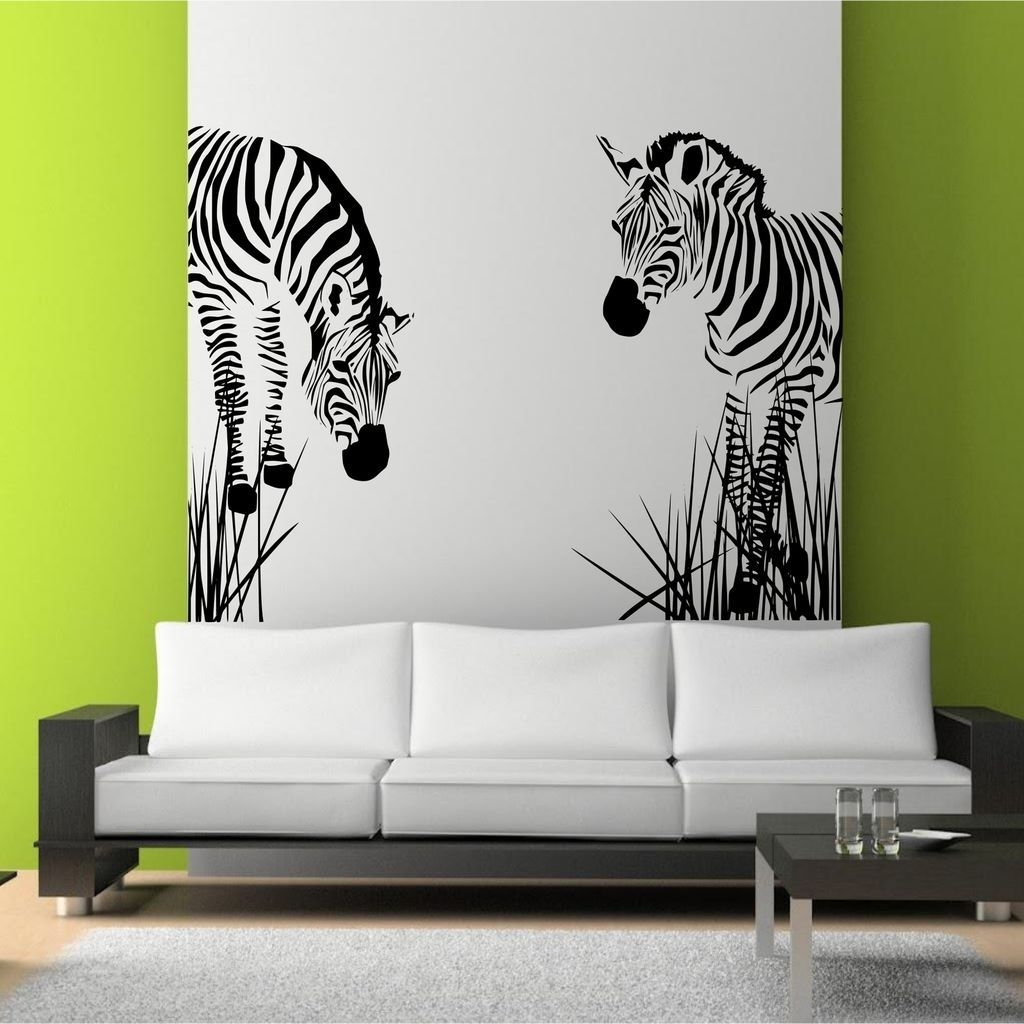 Zebra Vinyl Wall Decal   Wild Zebra Grass African Wall Art For Most Up To Date Murals Wall Accents (View 15 of 15)