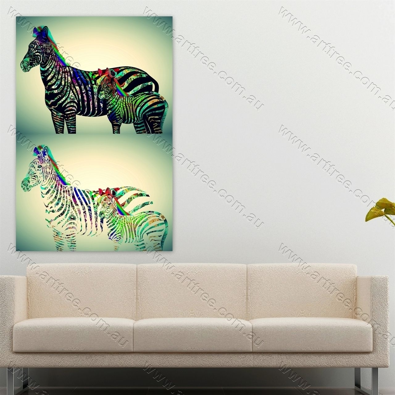 Zebra With Baby Zebra Animal Art #animalprint #homedecor Regarding Latest Geelong Canvas Wall Art (View 15 of 15)
