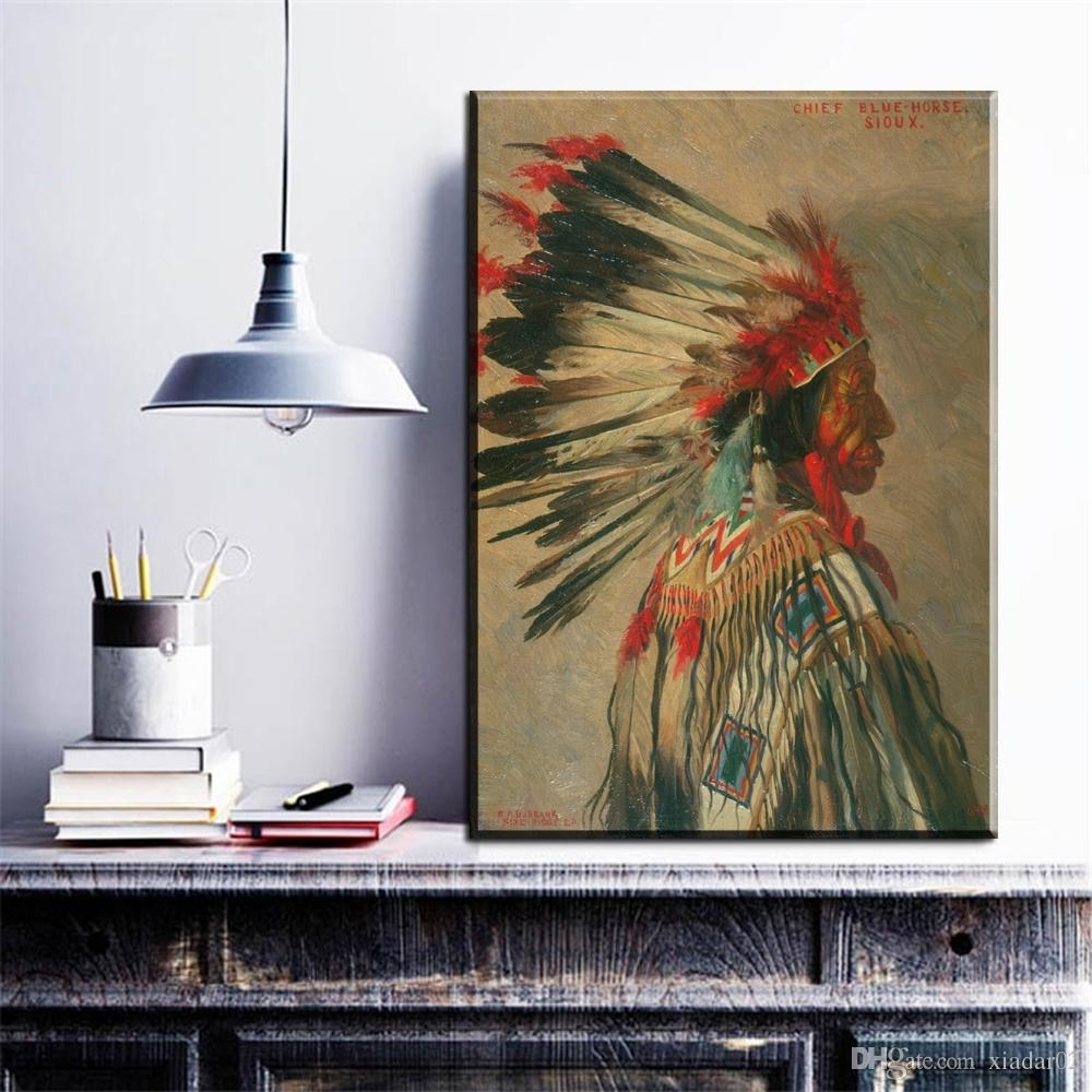 Zz1225 Modern Canvas Wall Art Indian Portrait Canvas Pictures Oil Pertaining To Recent Portrait Canvas Wall Art (View 14 of 15)