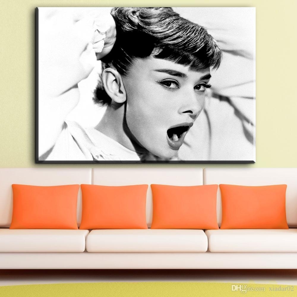 Zz724 Black And White Canvas Wall Art Audrey Hepburn Canvas With Current Portrait Canvas Wall Art (View 15 of 15)