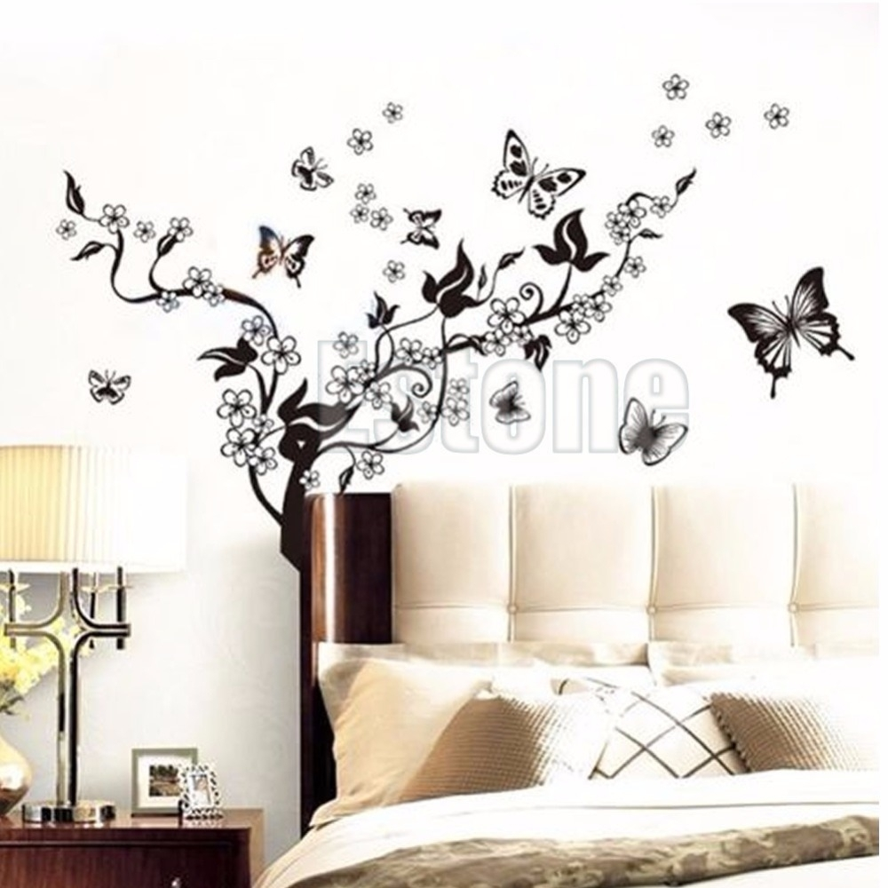 1 Set Butterfly Flower Wall Art Decal Vinyl Stickers Home Diy Decor In Best And Newest Flower Wall Art (View 1 of 20)