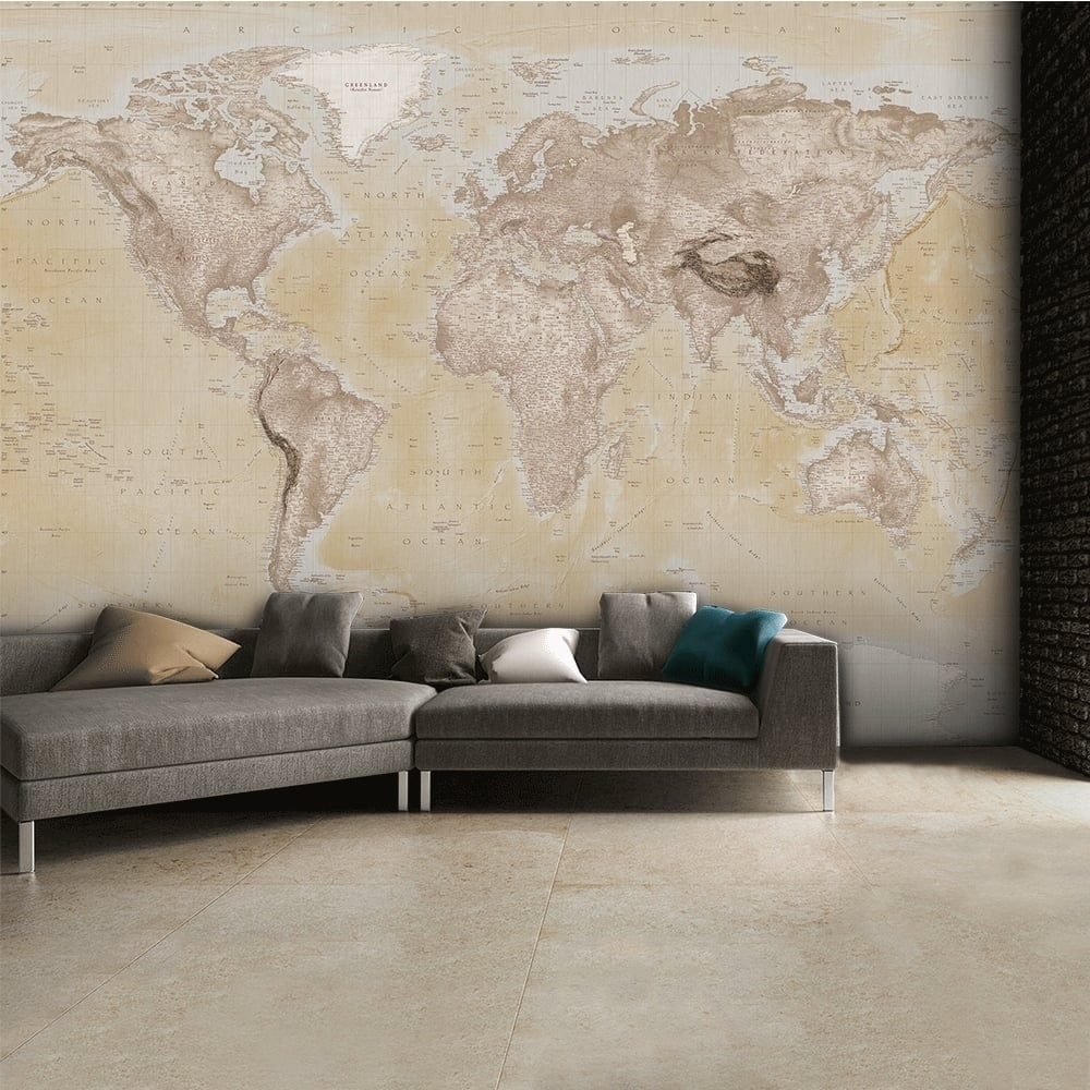 1 Wall Neutral World Map Atlas Wallpaper Mural Wall Art 315cm X Inside Most Recent Wall Art (View 15 of 15)