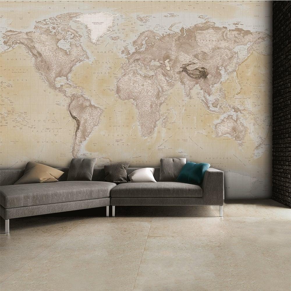 1 Wall Neutral World Map Atlas Wallpaper Mural Wall Art 315Cm X Inside Most Recent Wall Art (View 1 of 15)