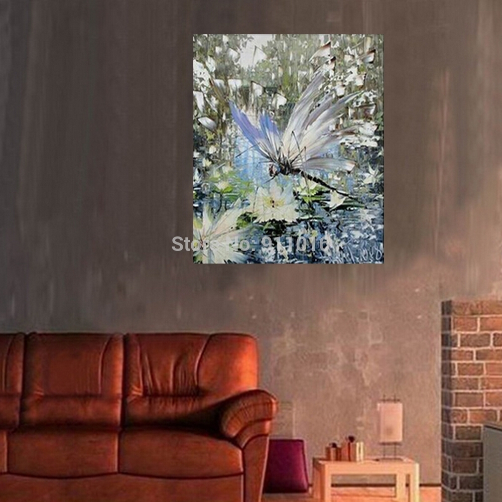 100% Hand Painted Dragonfly Oil Painting Abstract Animals Painting With 2018 Dragonfly Painting Wall Art (View 10 of 20)