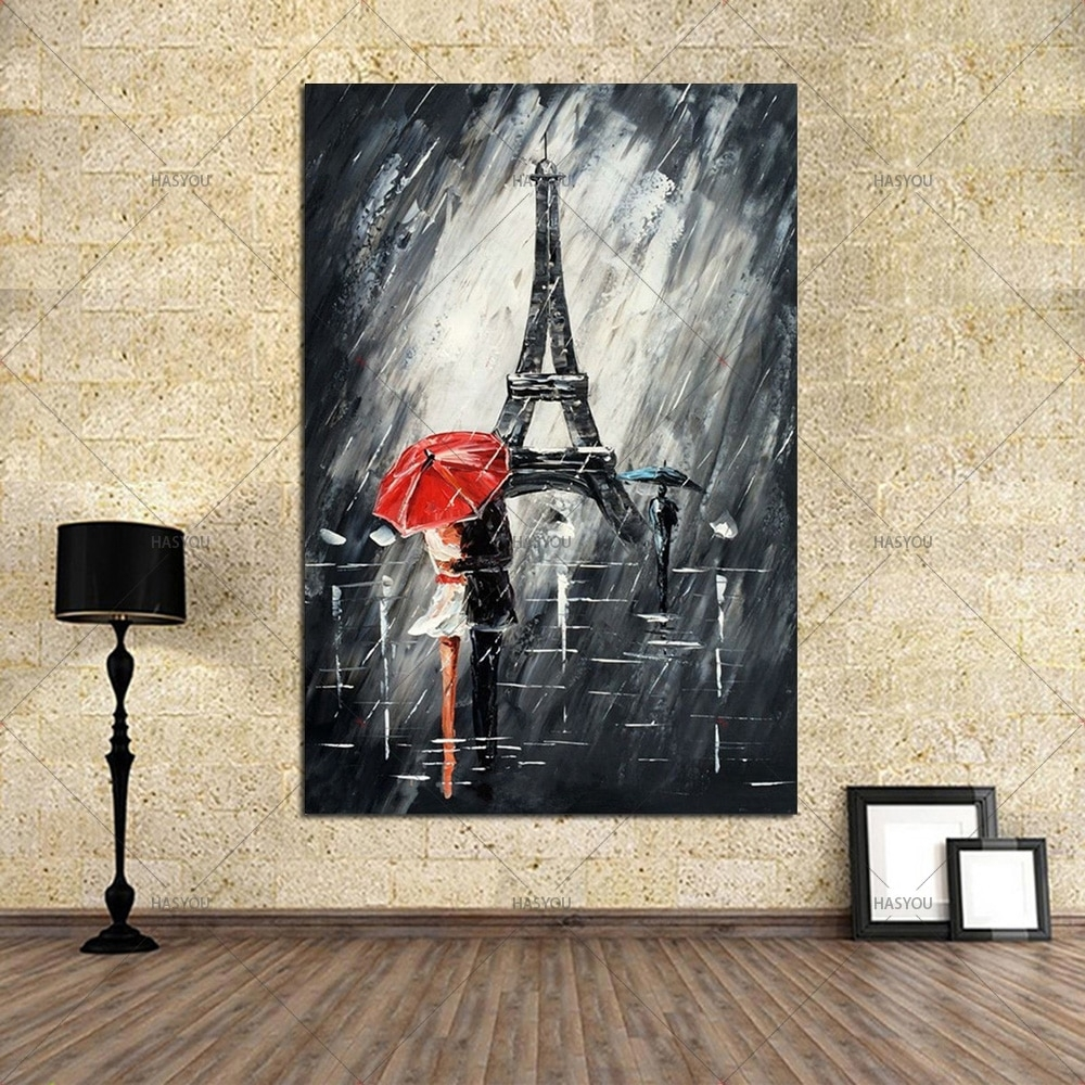 100% Handmade Fine Wall Artwork Art Abstract Painting Lover Umbrella Inside Most Up To Date Grey And White Wall Art (View 12 of 20)