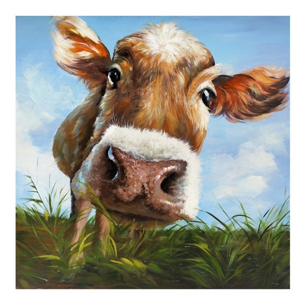 100%handpainted Modern Cow Pictures Abstract Art On Canvas Animals Throughout Best And Newest Cow Canvas Wall Art (View 1 of 20)