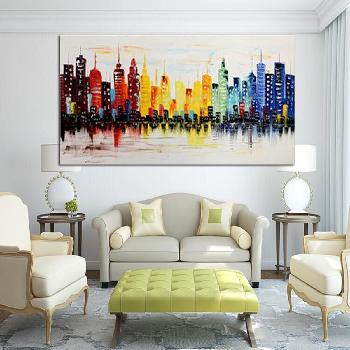 120X60Cm Modern City Canvas Abstract Painting Print Living Room Art With Most Recently Released Framed Wall Art For Living Room (View 1 of 20)