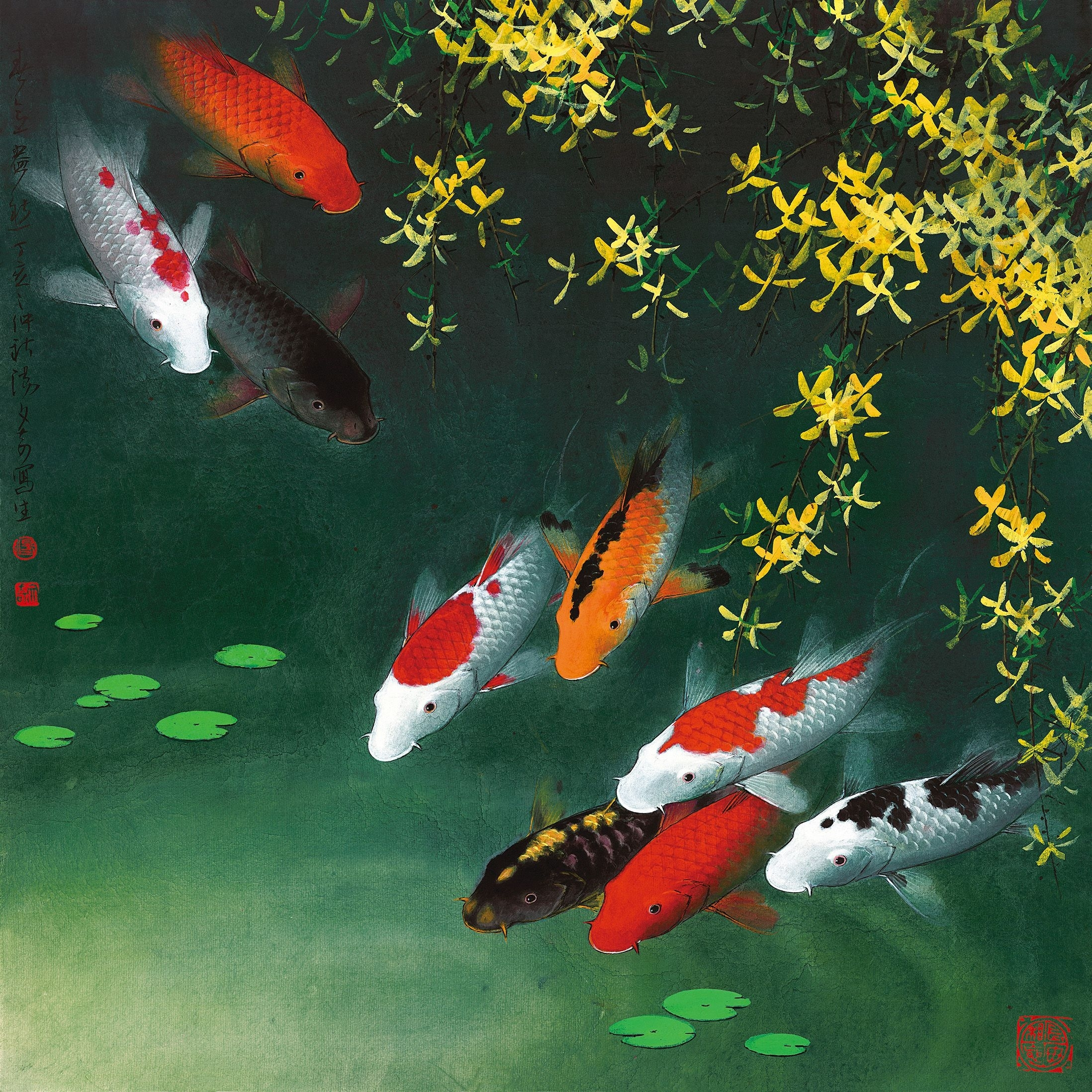 1523 Fine Art Paintings Giclee Art Prints On Canvas Koi Fish Wall Regarding 2017 Fish Painting Wall Art (View 1 of 20)