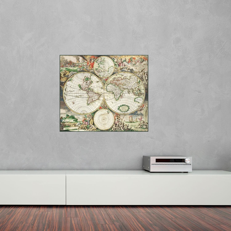 1689 World Map Vinyl Wall Art | Vinyl Revolution In Best And Newest Vinyl Wall Art World Map (View 13 of 20)