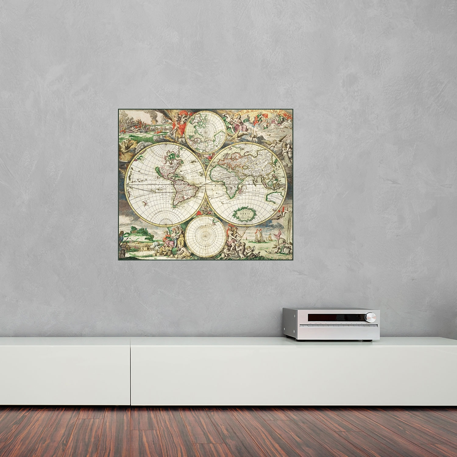 1689 World Map Vinyl Wall Art | Vinyl Revolution Inside 2018 Wall Art World Map (View 1 of 20)