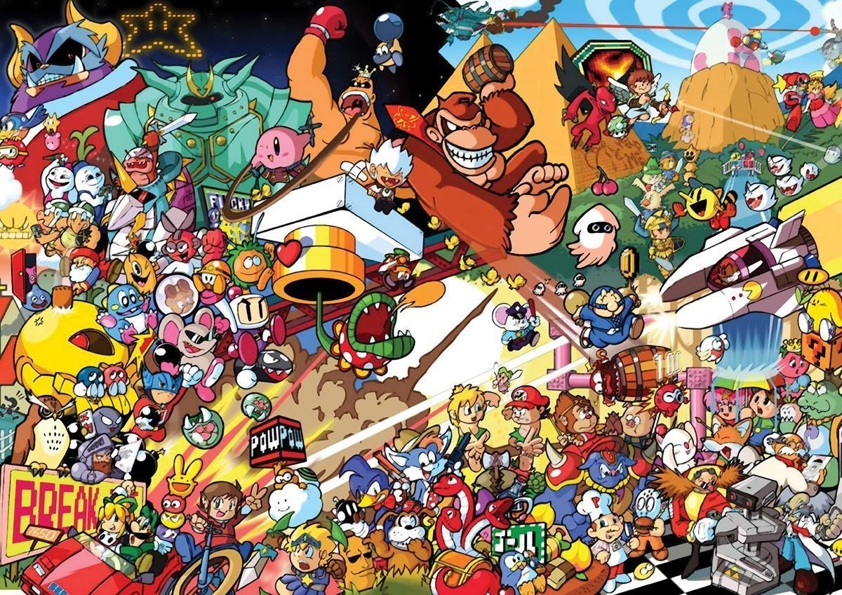 195824 Retro Games Characters Snes Nintendo Art Wall Print Poster Uk In Most Current Nintendo Wall Art (View 1 of 20)