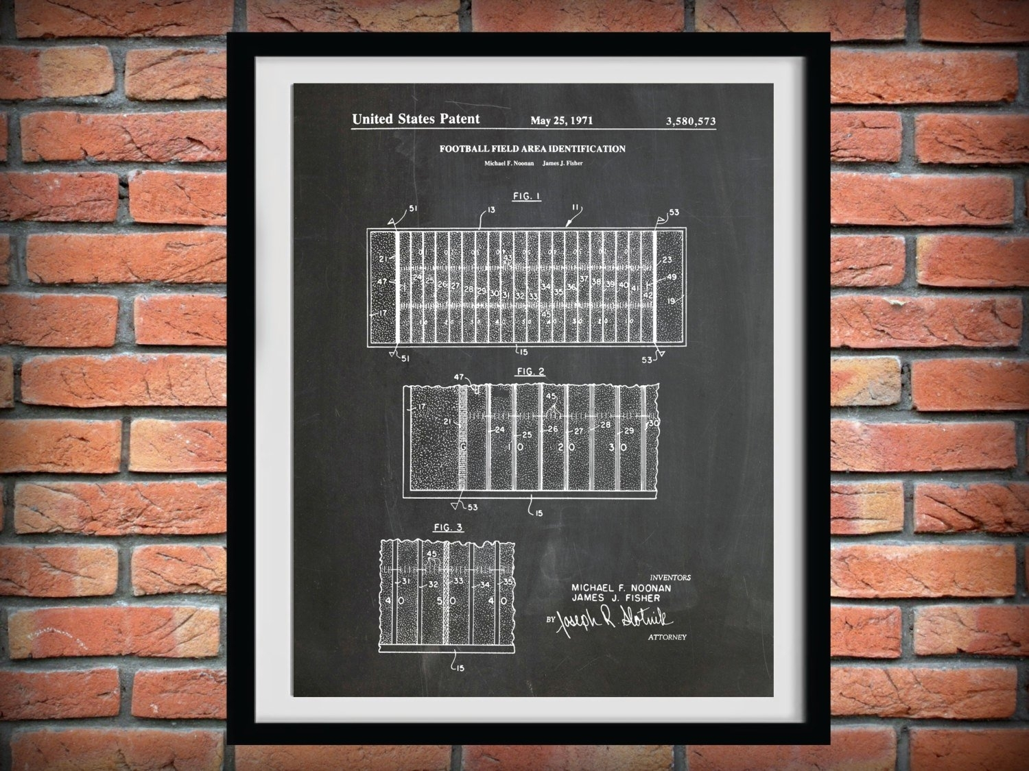 1971 Football Field Layout Patent – Art Print Poster – Sports Wall Intended For 2017 Nfl Wall Art (View 1 of 15)