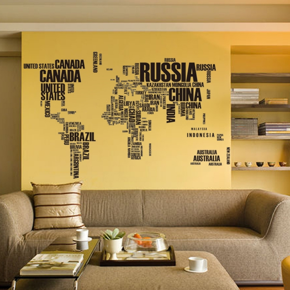 1Pc New Large World Map Wall Stickers Original Creative Letters Map Pertaining To Best And Newest Wall Art Stickers World Map (View 1 of 20)