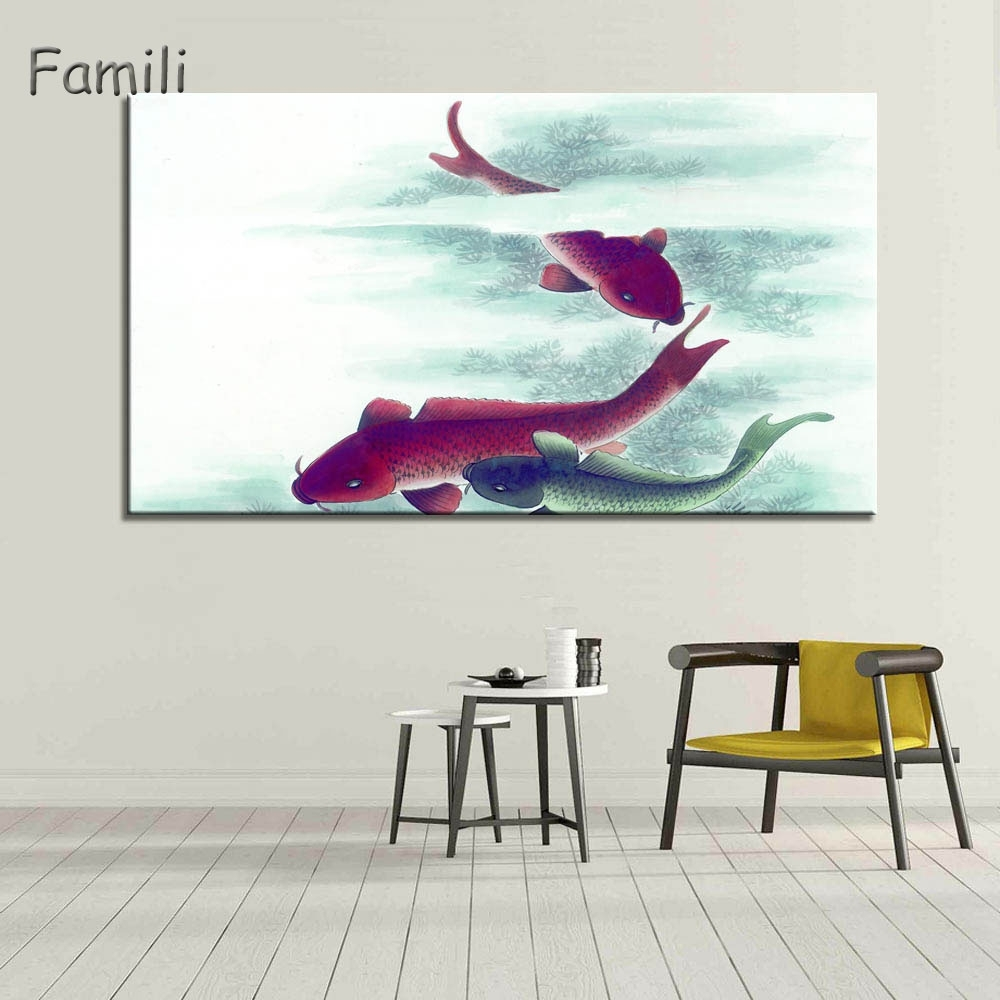 1Piece Koi Fish Wall Art Chinese Painting Wall Art On Canvas Home With Most Recently Released Fish Painting Wall Art (View 2 of 20)