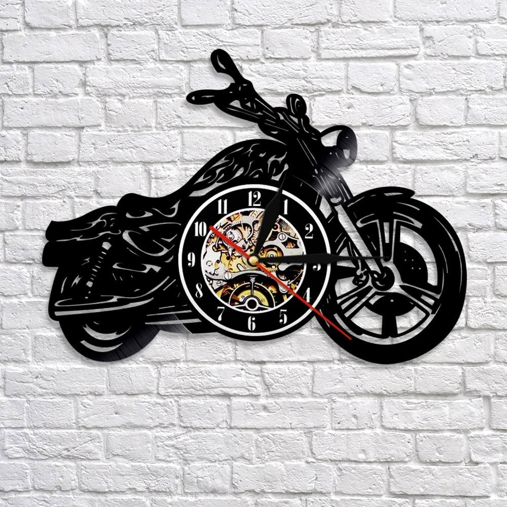 1Piece Motorcycle Vinyl Record 3D Wall Clock Motorcycle Art Decor Regarding Most Up To Date Motorcycle Wall Art (View 1 of 20)