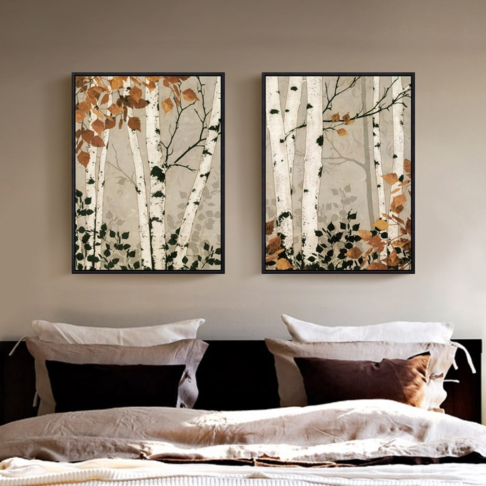 2 Panel Unframed Modern White Birch Tree Canvas Painting Wall Art With Regard To Best And Newest Birch Tree Wall Art (View 1 of 20)