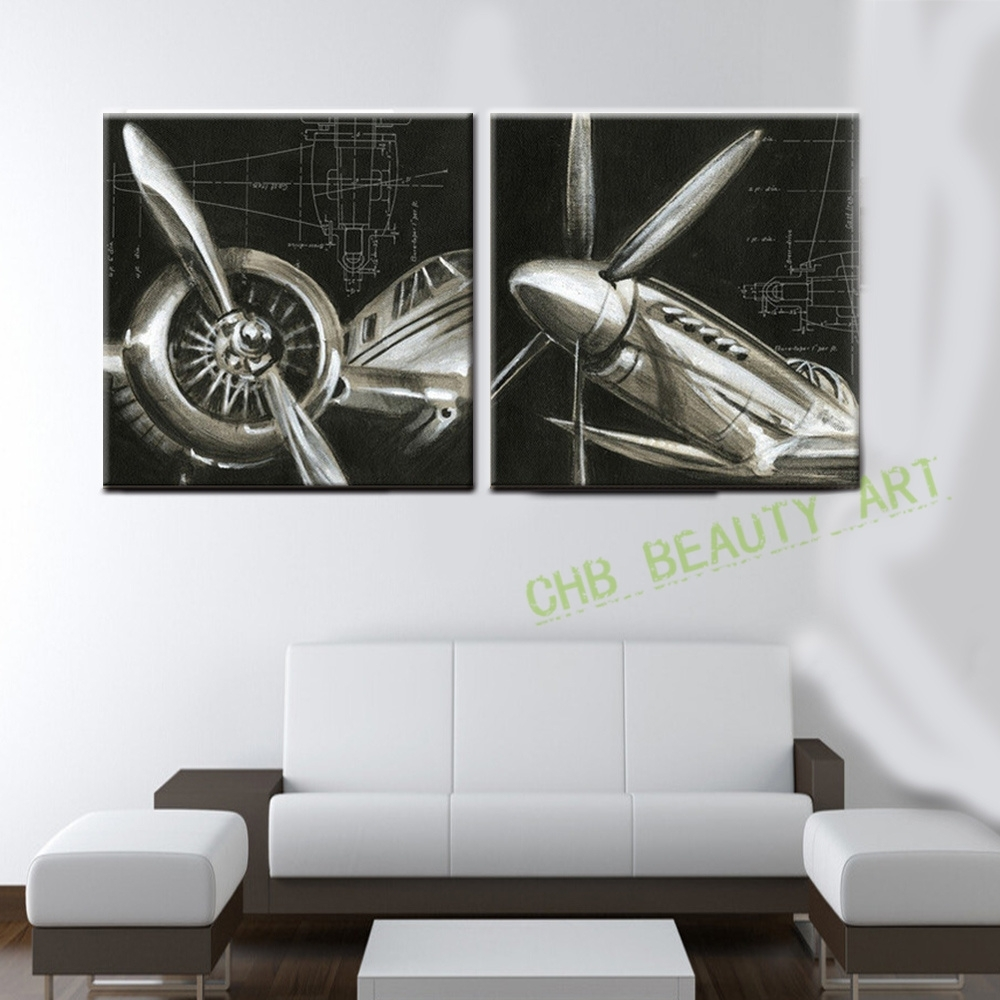 2 Panels Vintage Airplane Paintings Abstract Picture Hd Printed Inside Most Current Airplane Wall Art (Gallery 2 of 20)