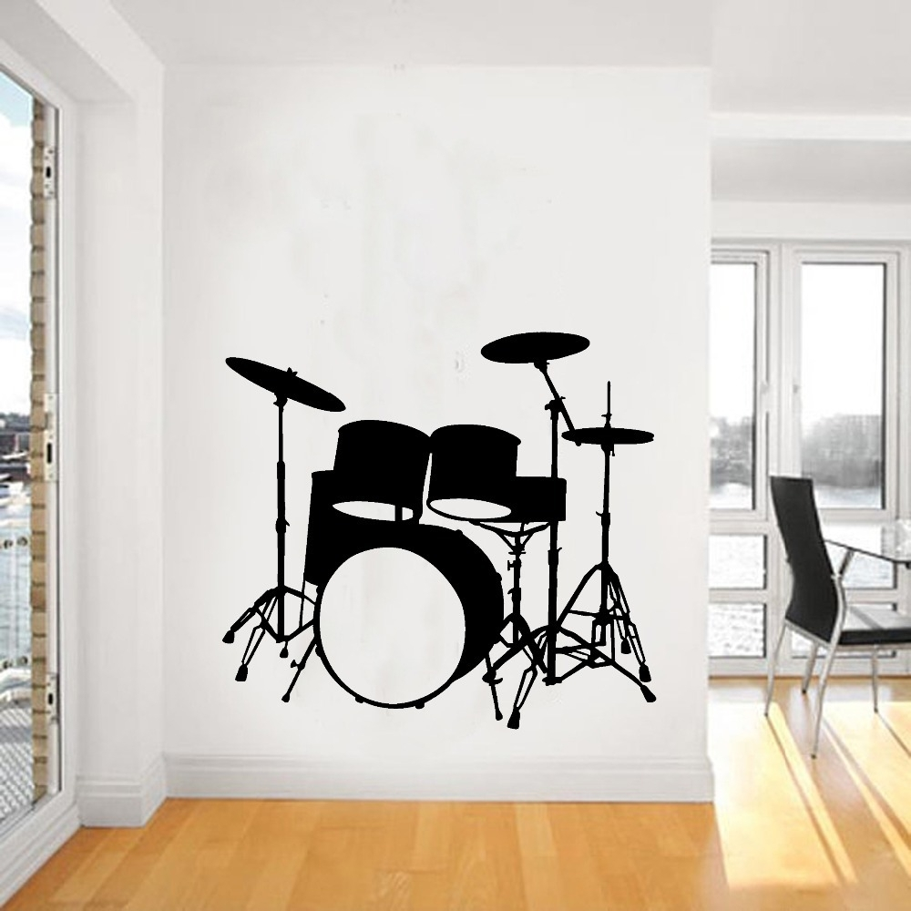 2015 Fashion Music Vinyl Wall Decal Drums Wall Art Musical Regarding Most Popular Music Wall Art (View 1 of 15)
