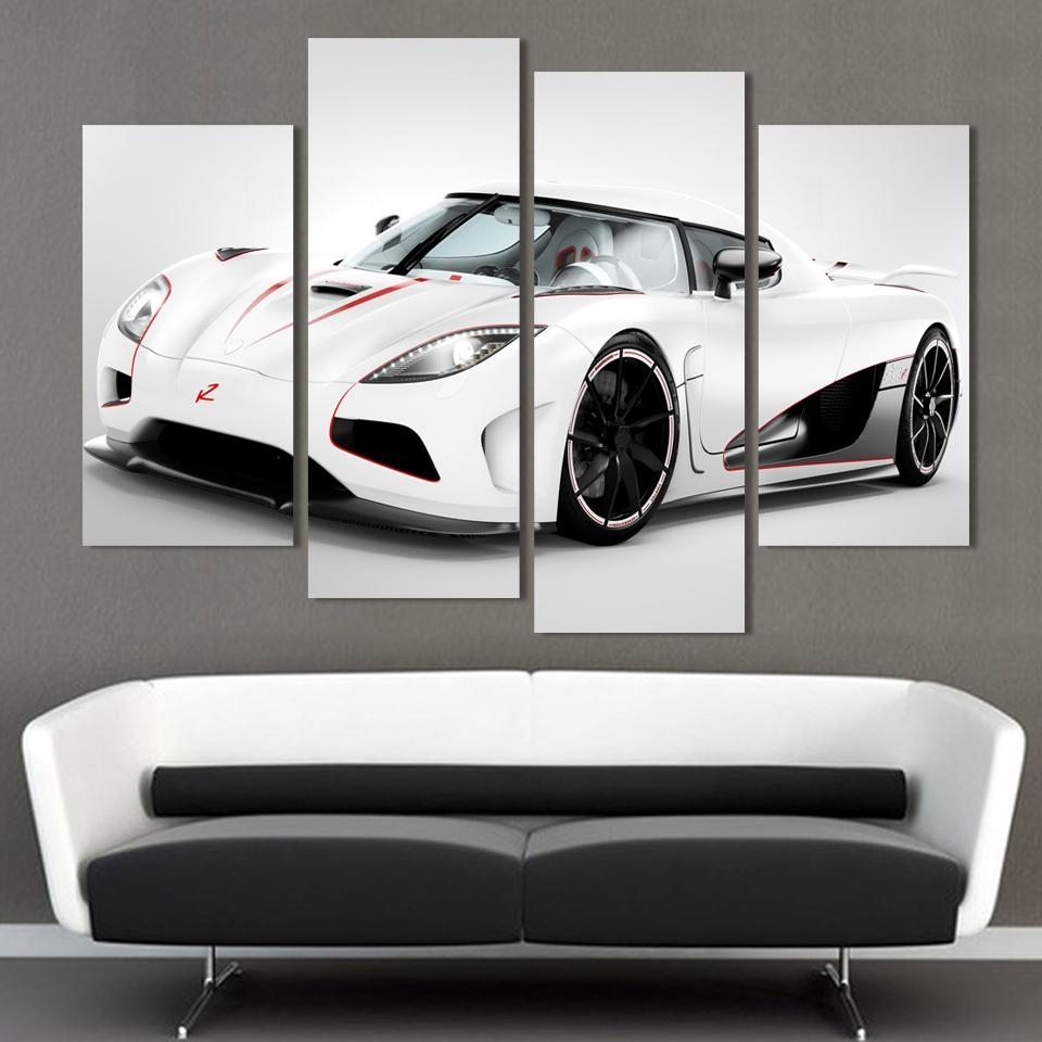 2016 4 Pcs White Sports Car Wall Art Painting Home Decoration Living With Most Up To Date Car Canvas Wall Art (View 1 of 20)