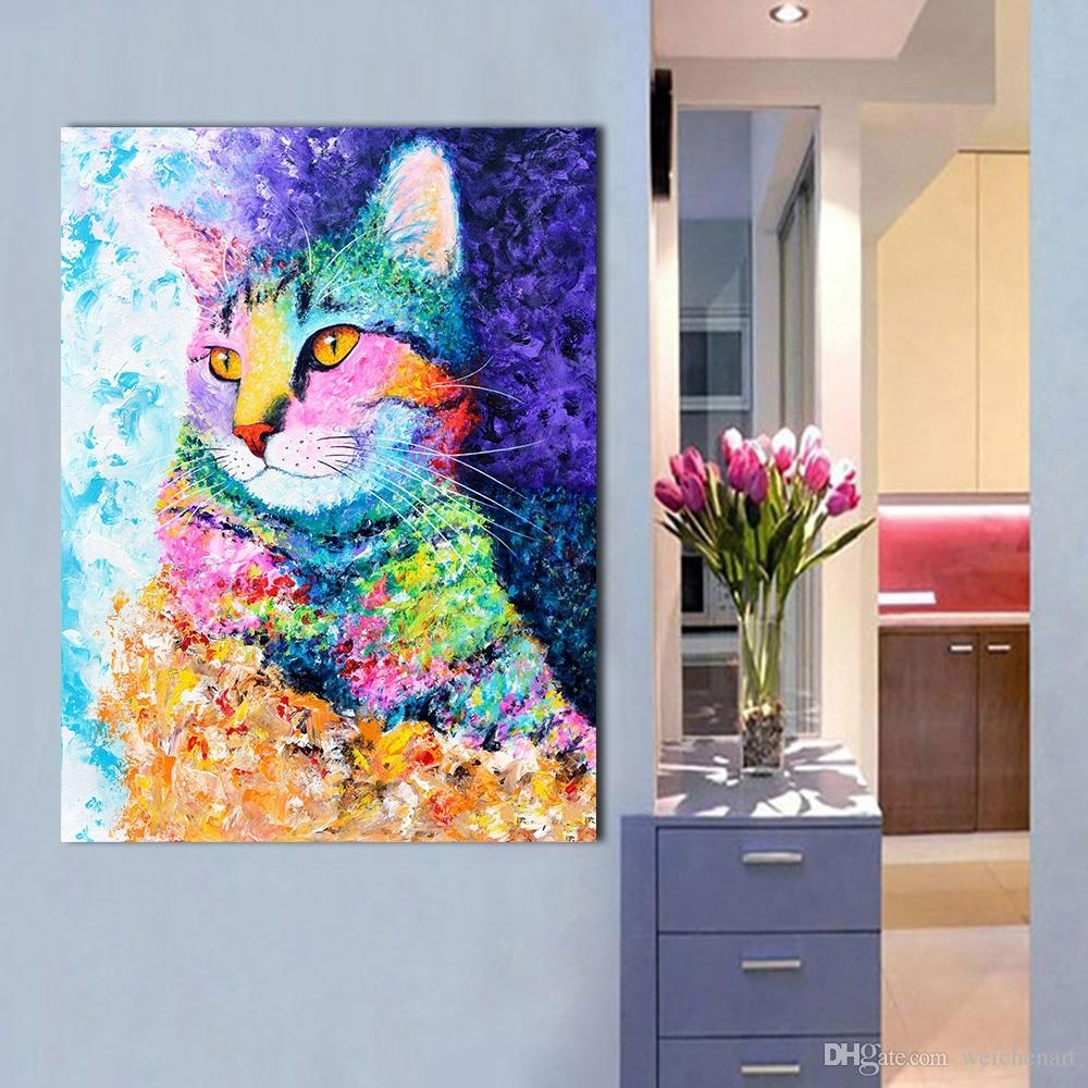 2018 1 Panel Wall Art Picture The Colorful Cat Oil Painting Canvas Within Most Recently Released Cat Canvas Wall Art (Gallery 11 of 20)
